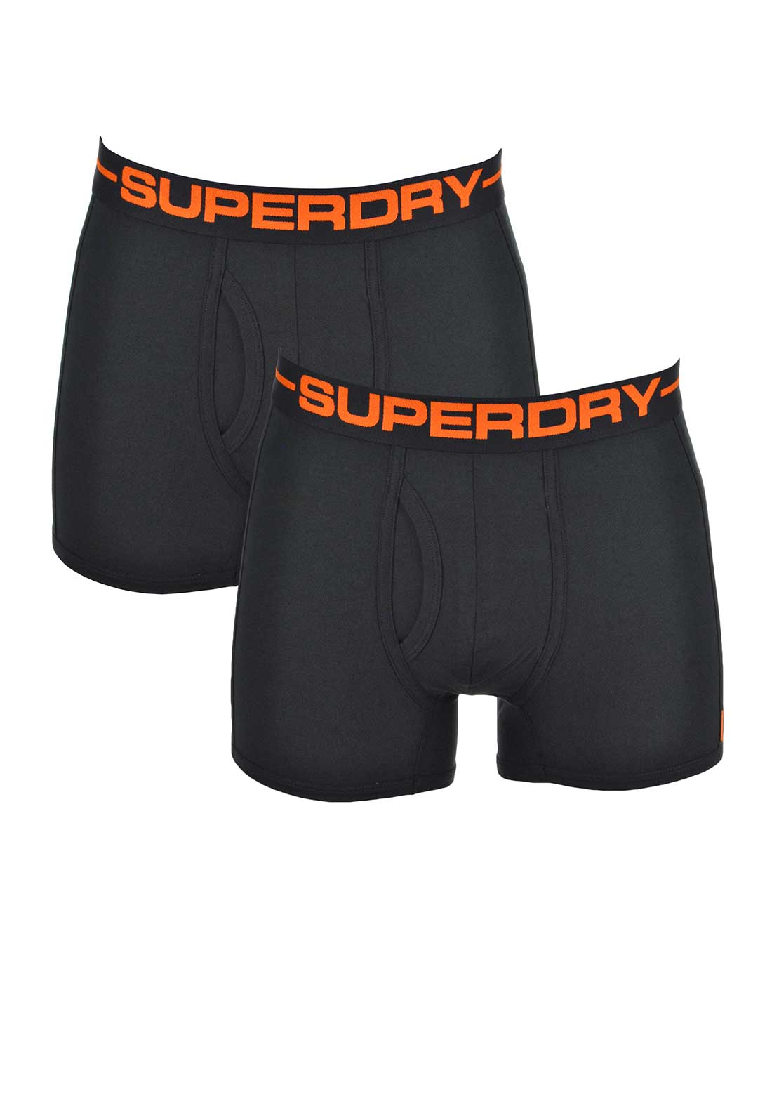 Superdry Mens Black Label 2 Pack Sport Boxers, Black