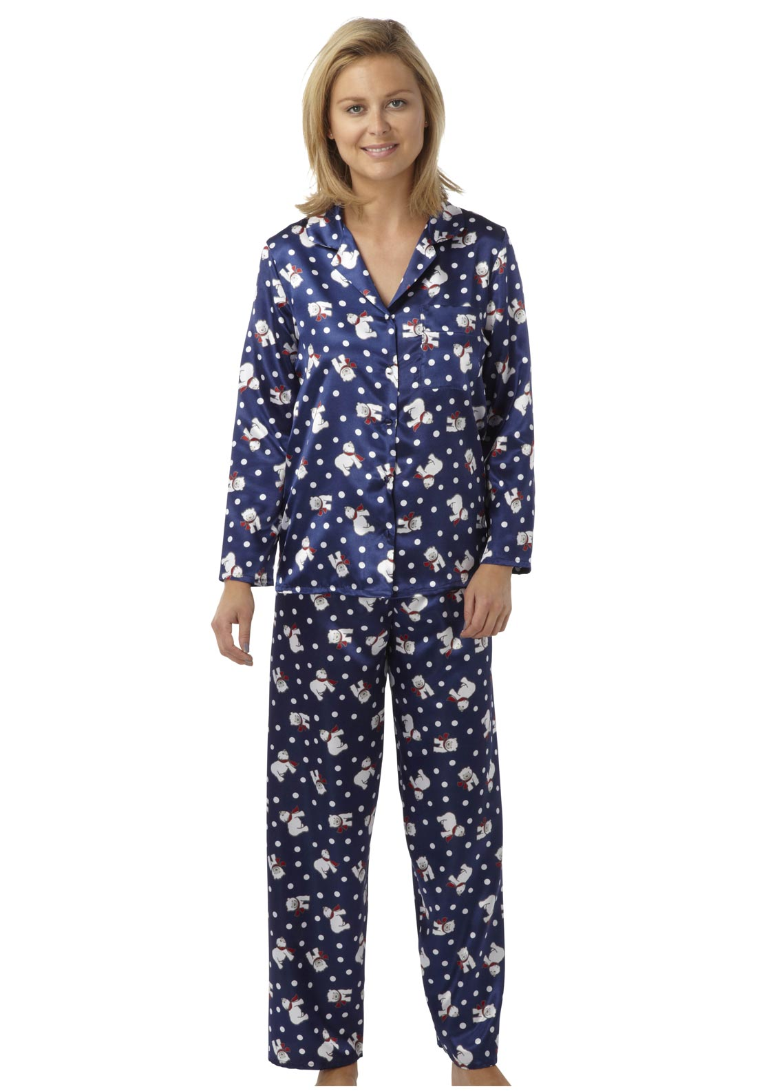 Indigo Sky Polar Bear Satin Pyjamas, Navy