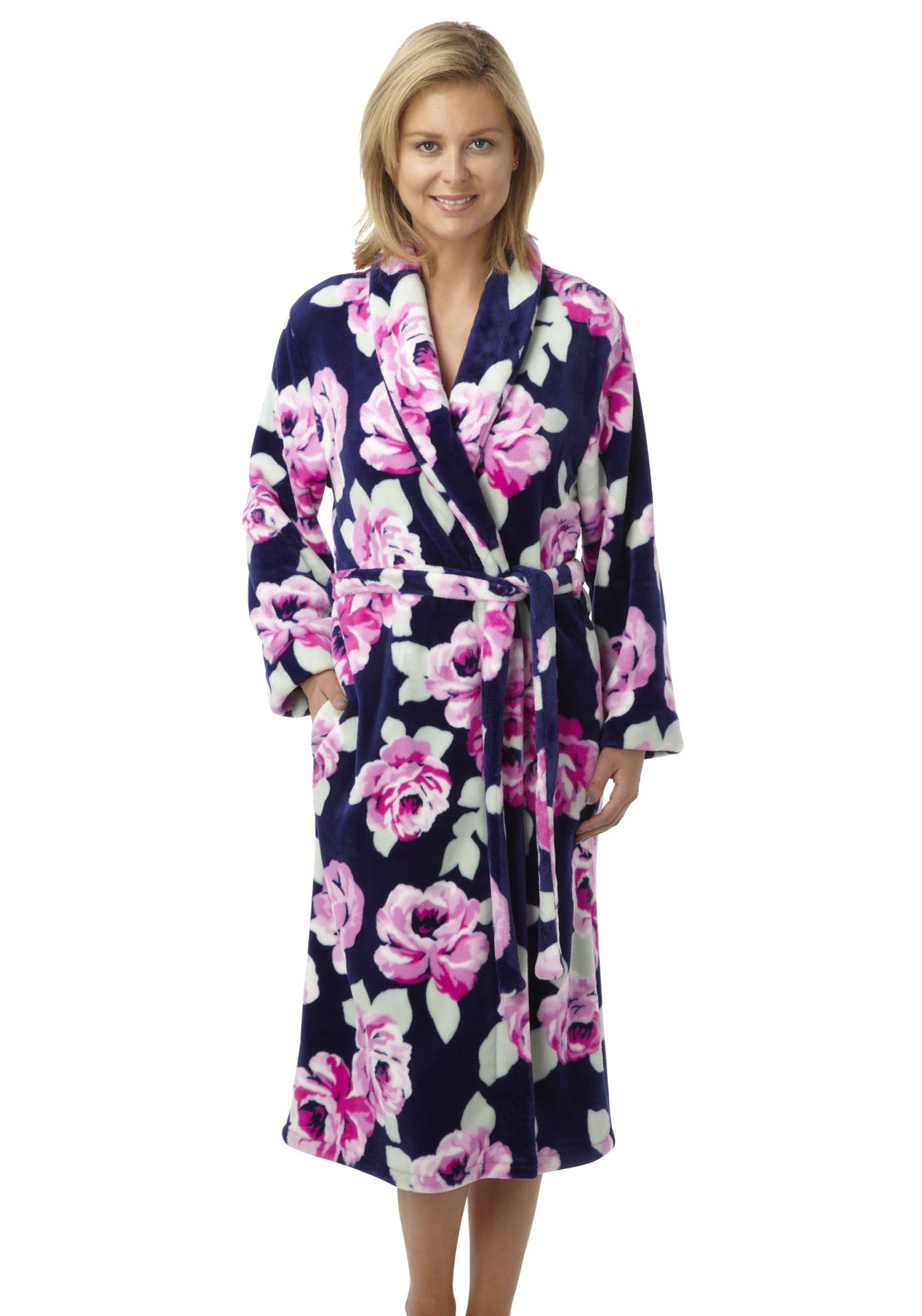 Indigo Sky Soft Fleece Floral Dressing Gown, Multi-Coloured