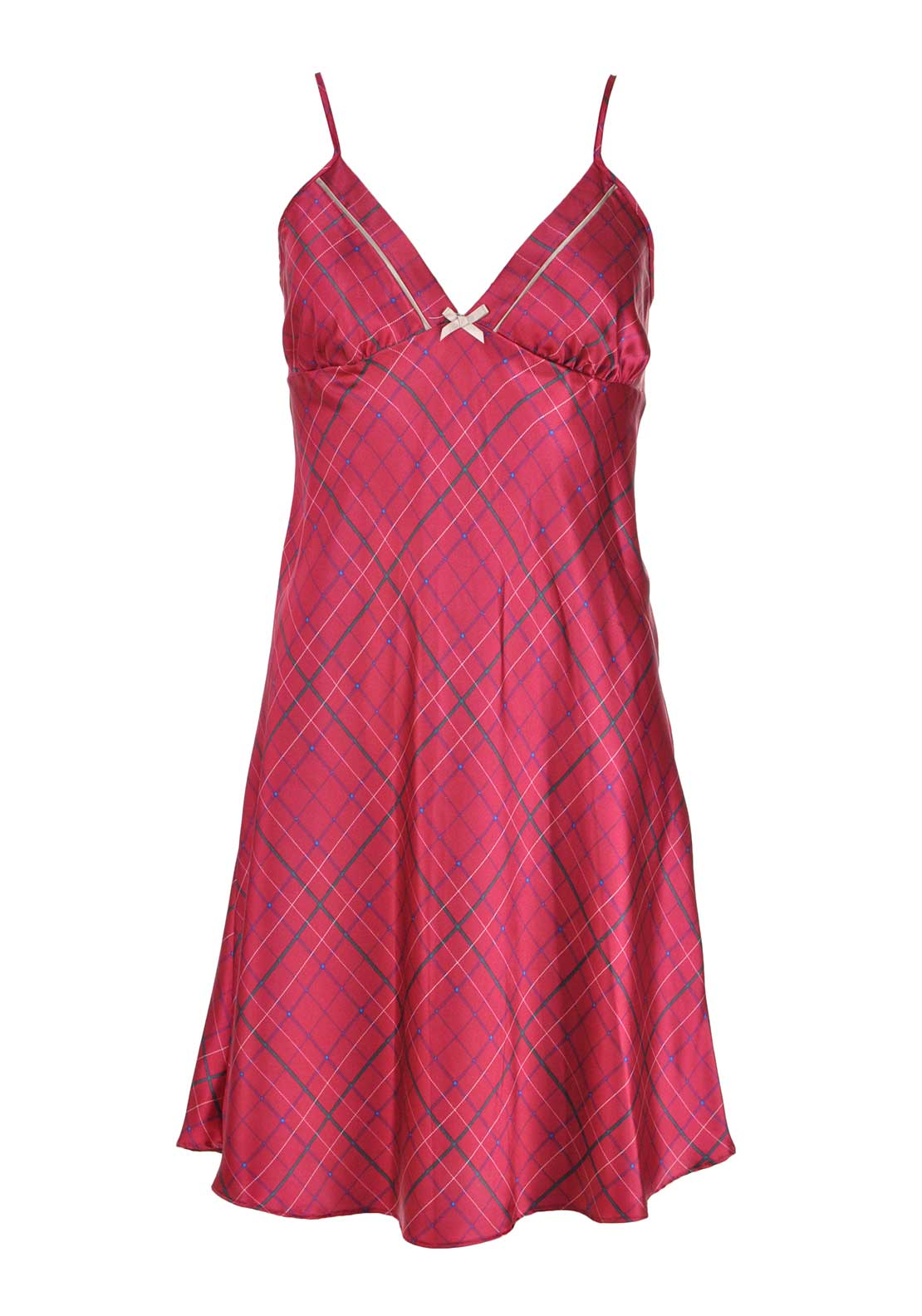 Indigo Sky Checked Night Chemise, Red