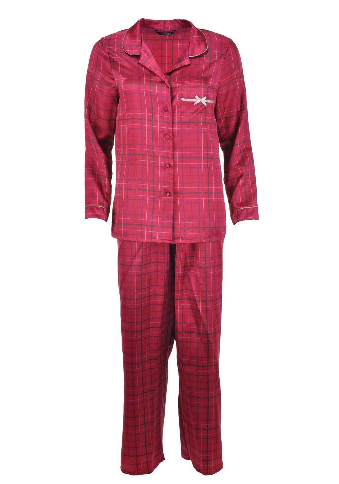 Indigo Sky Checked Pyjama Set, Red