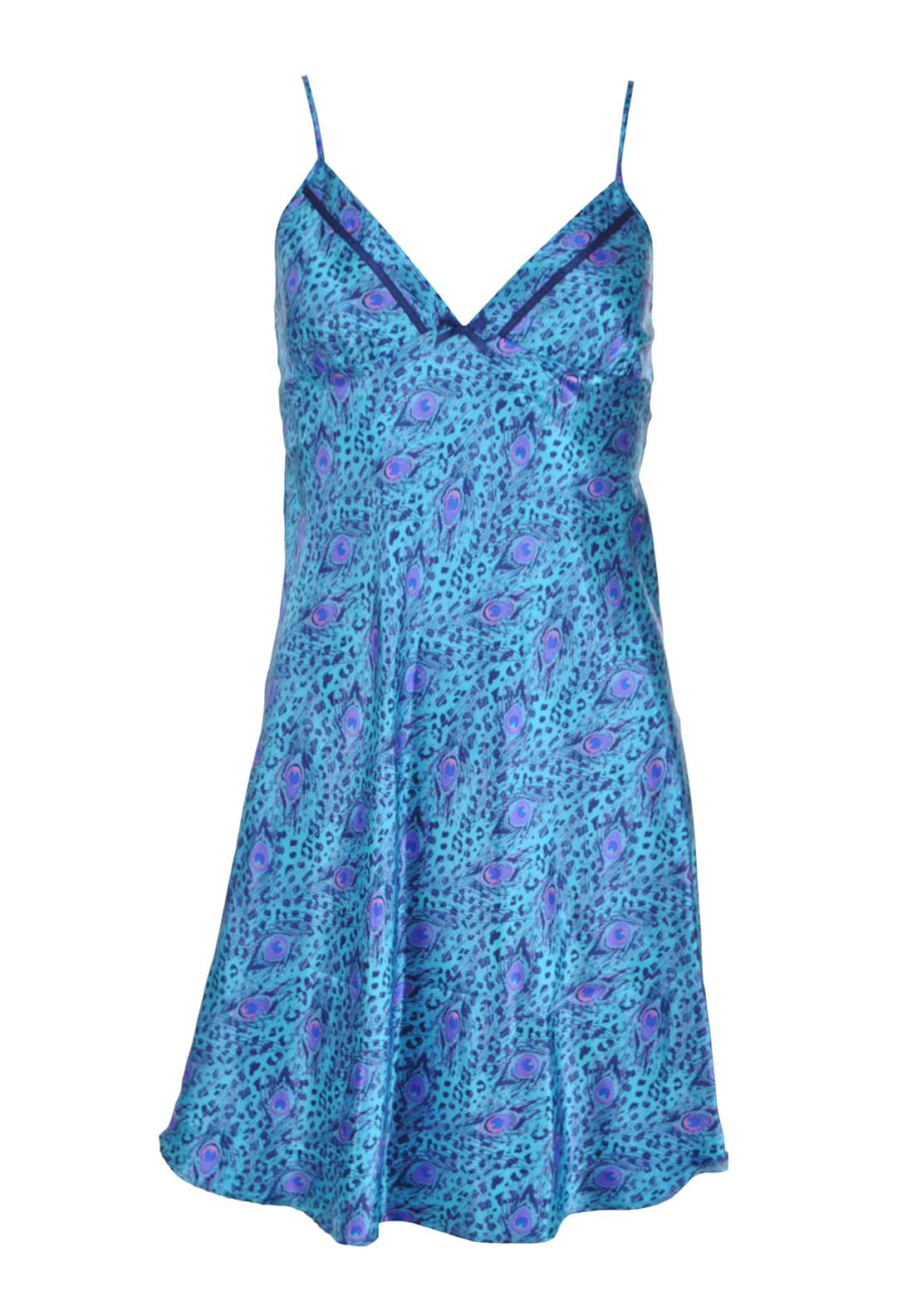 Indigo Sky Peacock Print Night Chemise, Blue
