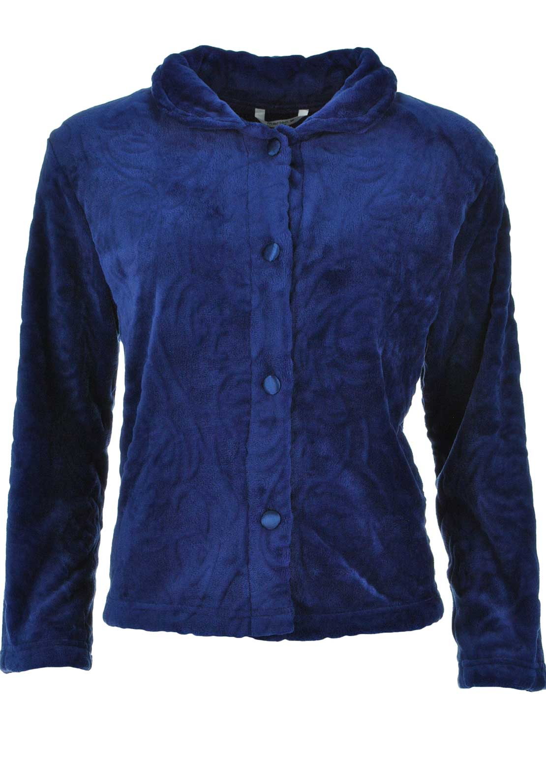 Marlon Button Front Embossed Print Fleece Bed Jacket, Navy