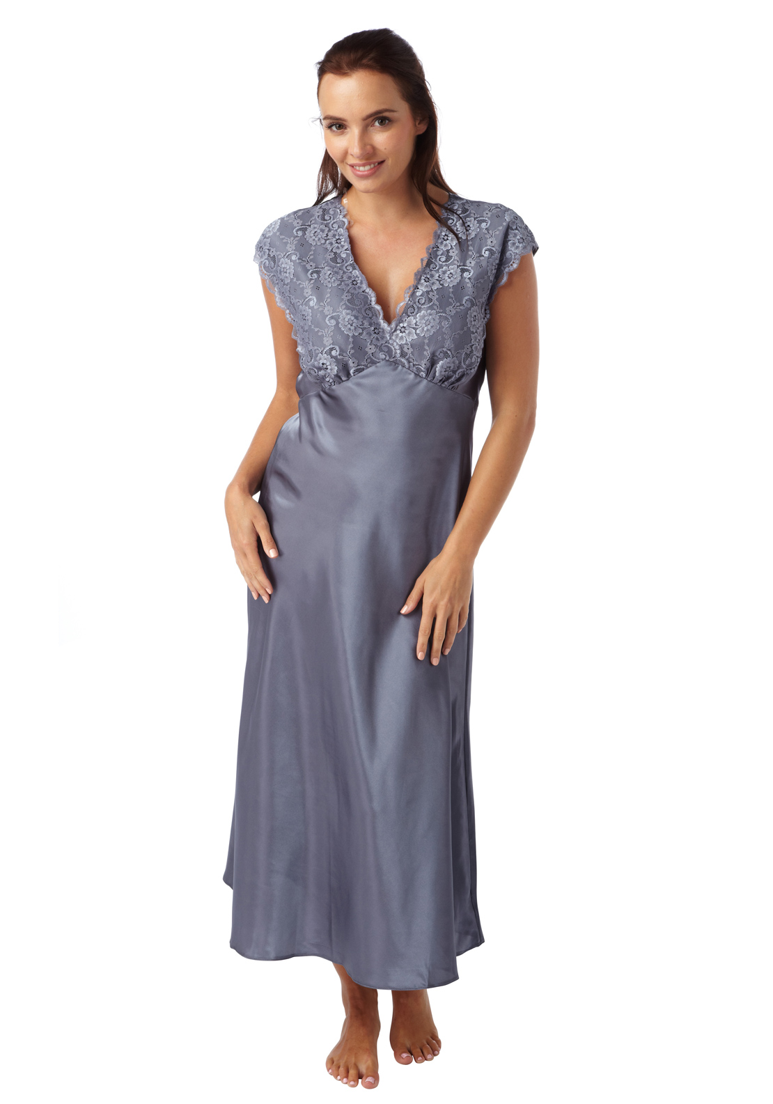 Indigo Sky Lace Trim Satin Nightdress, Charcoal