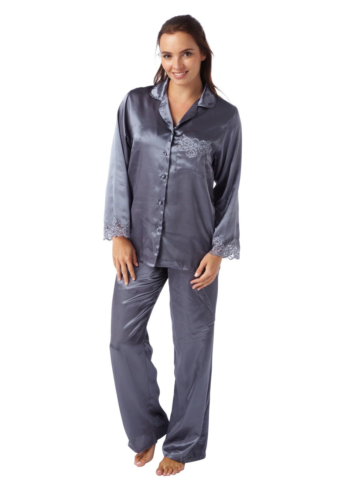 Indigo Sky Lace Trim Satin Pyjama Set, Charcoal