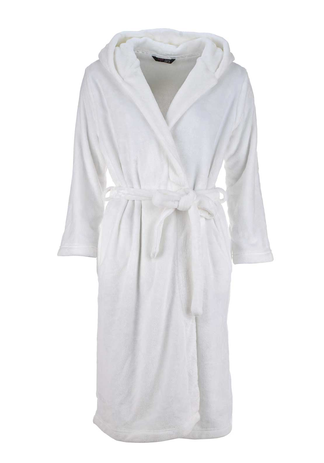 Indigo Sky Hooded Terry Dressing Gown, White