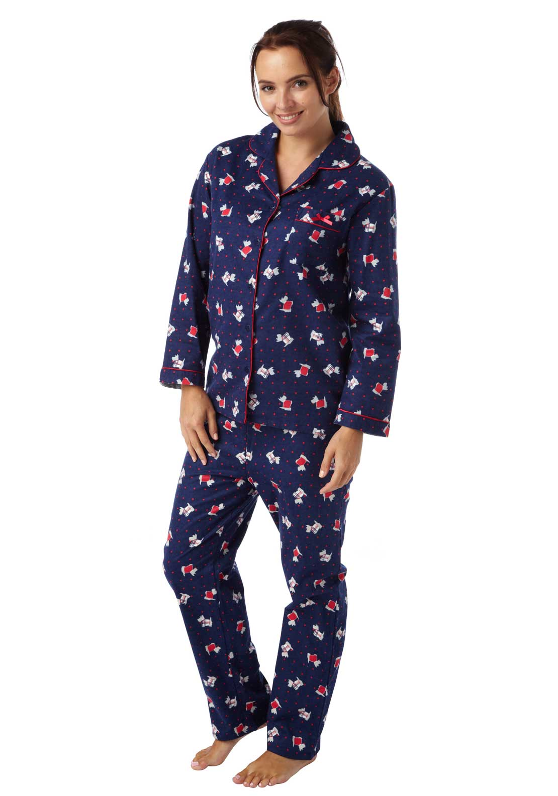 Indigo Sky Scotty Dog Print Pyjama Set, Navy