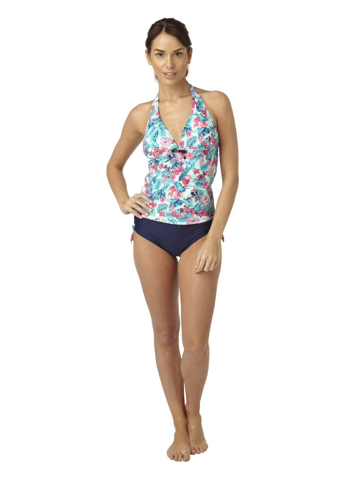 Hot Honi Floral Print Tankini Set, Blue Multi