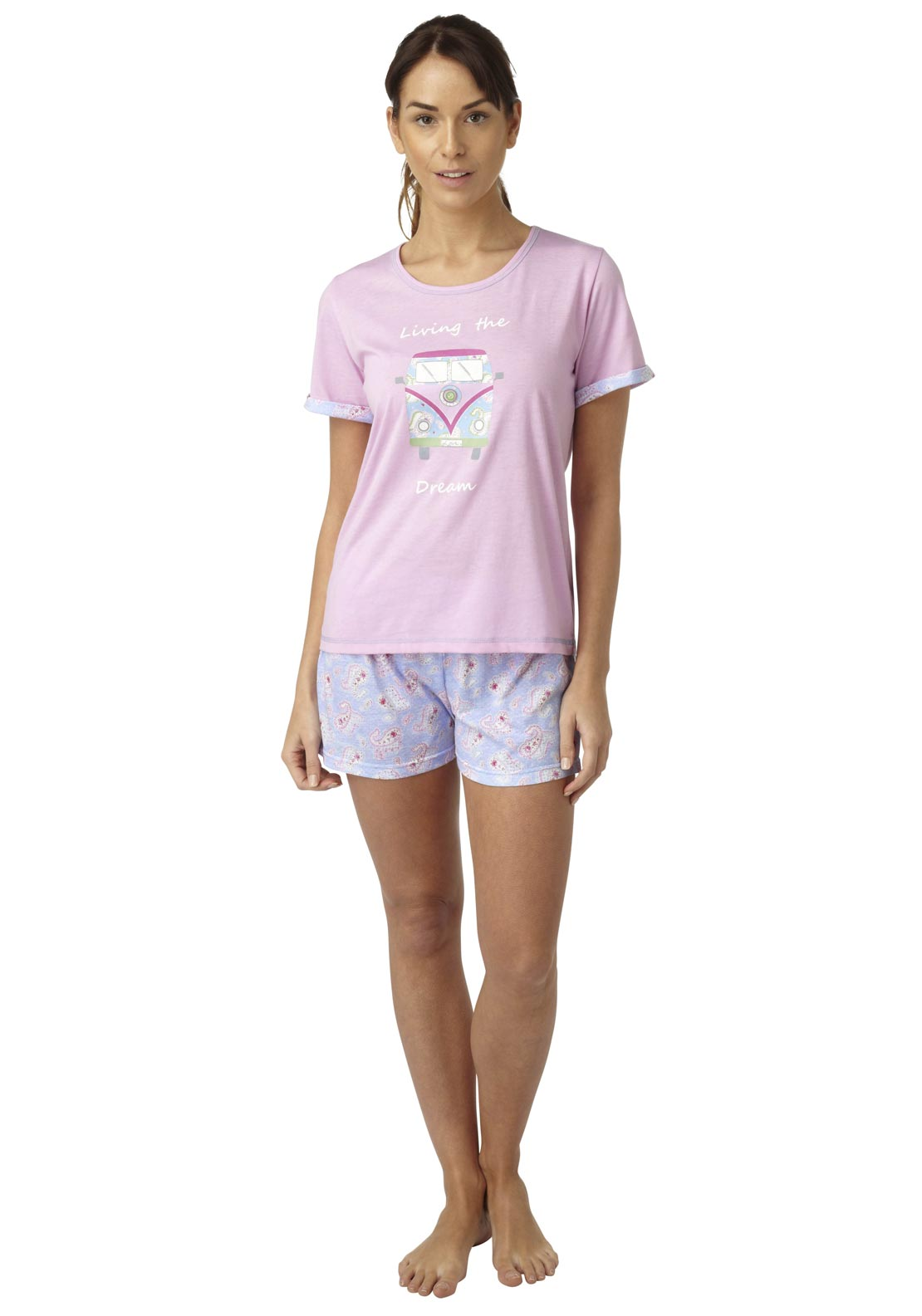 Indigo Sky Love Van Top & Shorts Pyjama Set, Pink