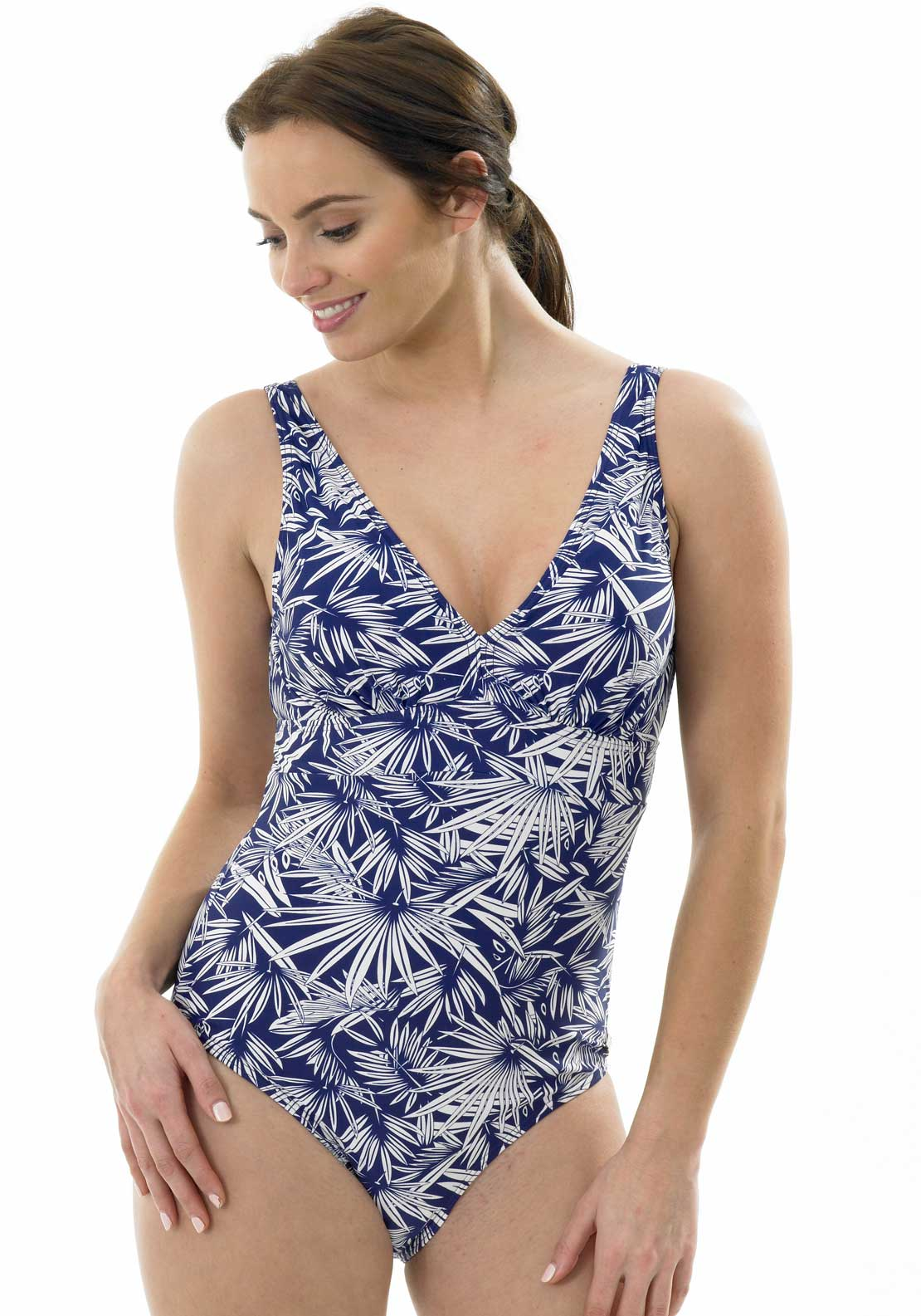 Oyster Bay Leaf Print V-Neck Swimsuit, Navy and White