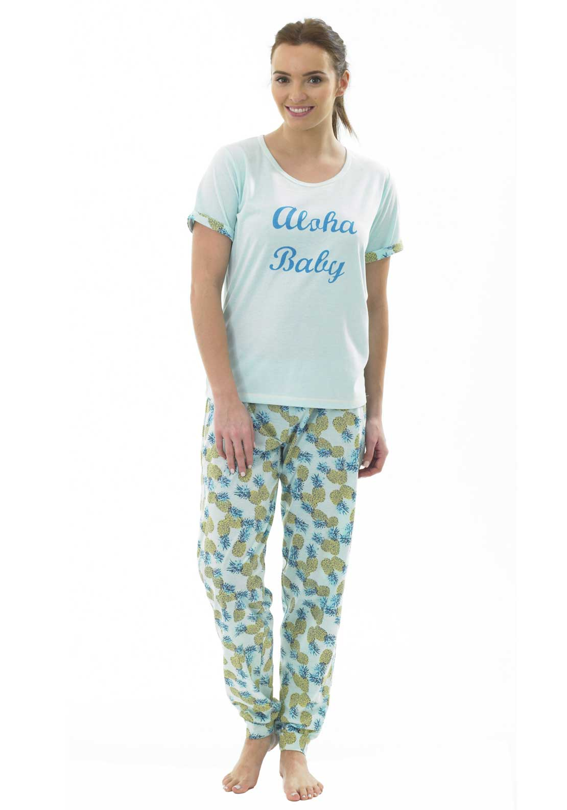 Indigo Sky Pineapple Print Pyjama Set, Mint Green Multi