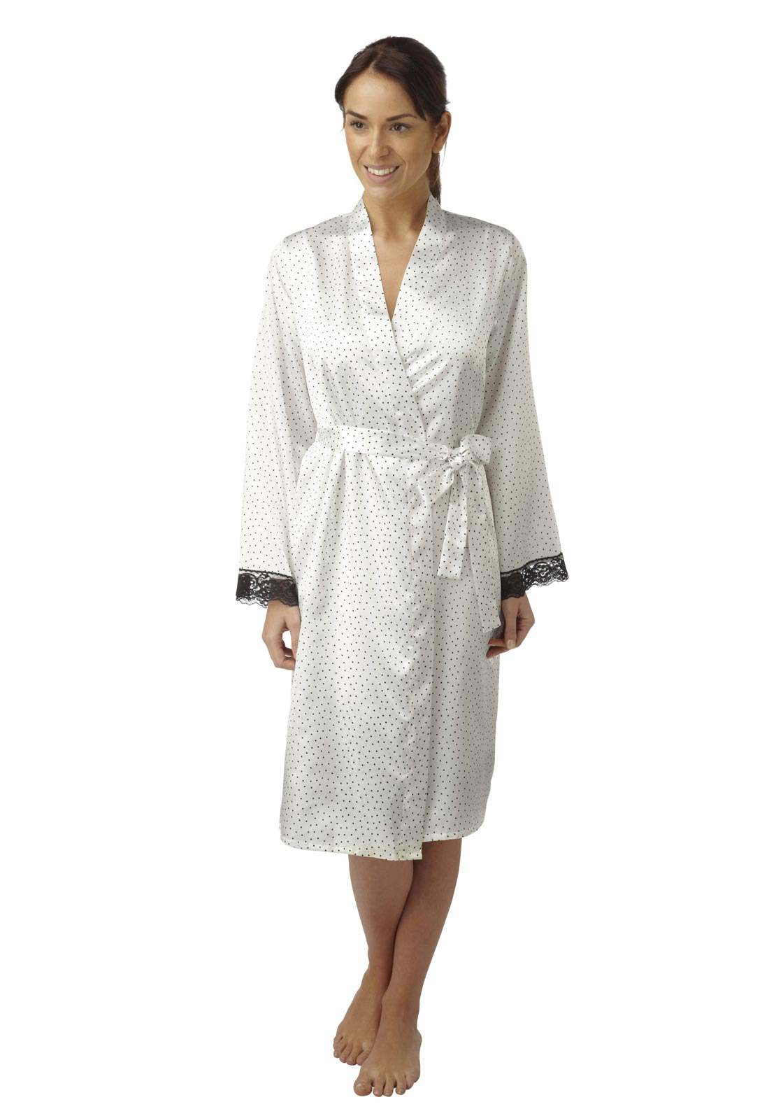 Indigo Sky Polka Dot Dressing Gown, White