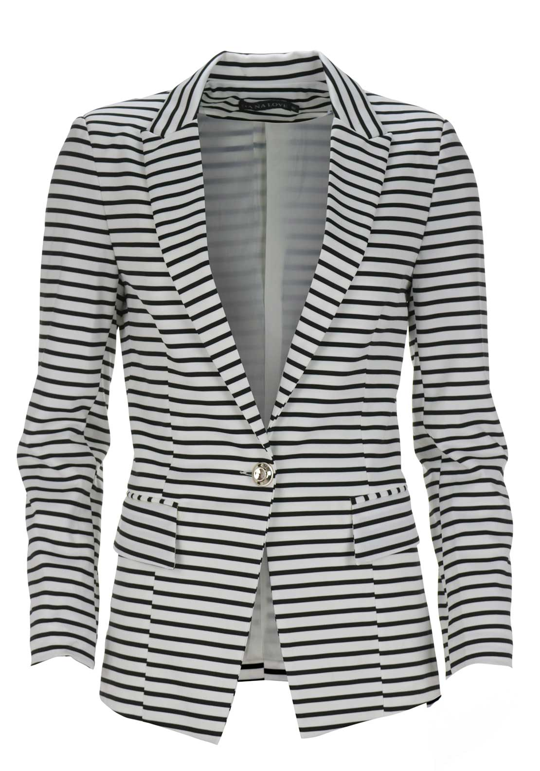 Boutique Striped Blazer jacket, White