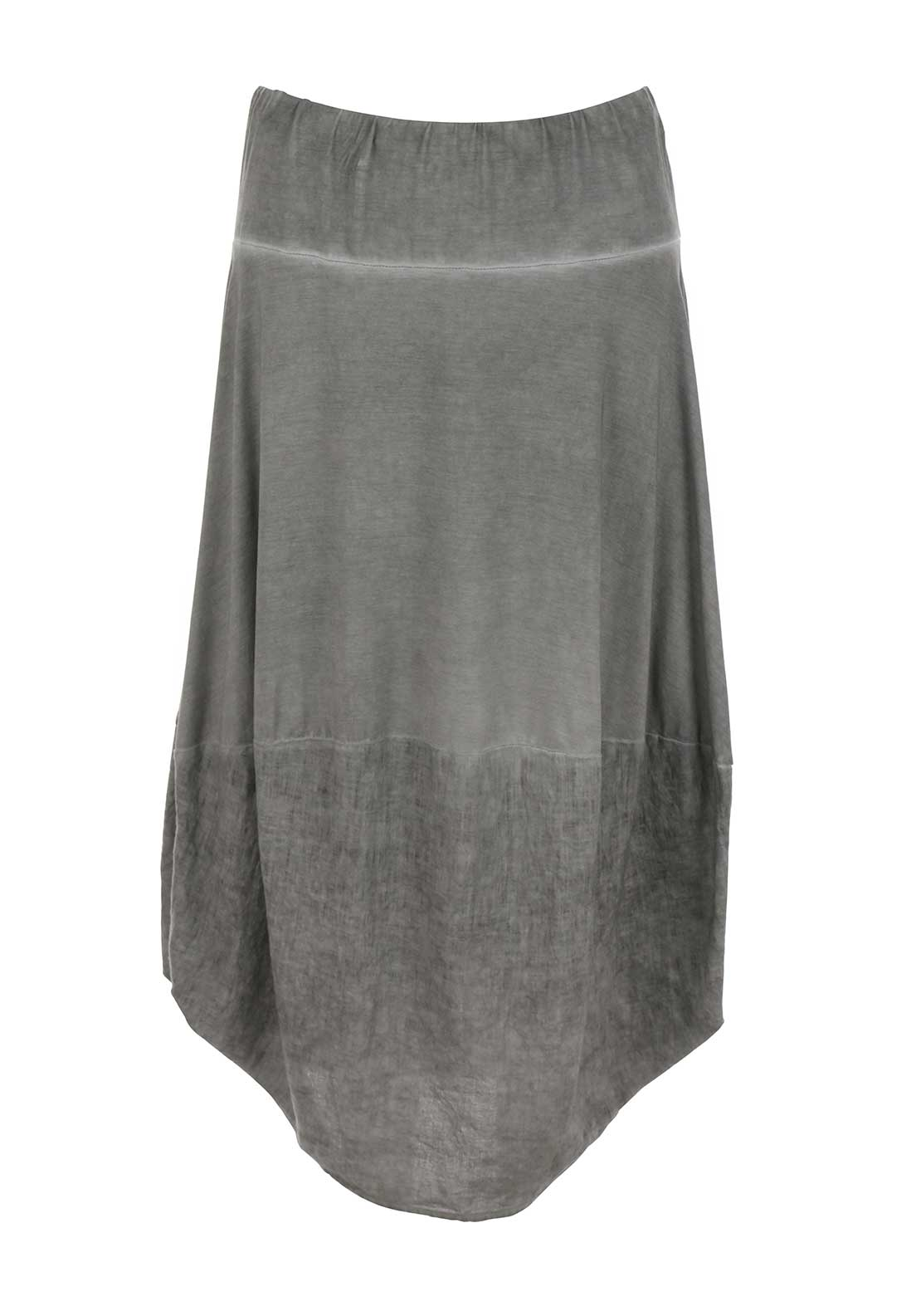 Naya Jersey and Linen Blend Midi Skirt, Grey