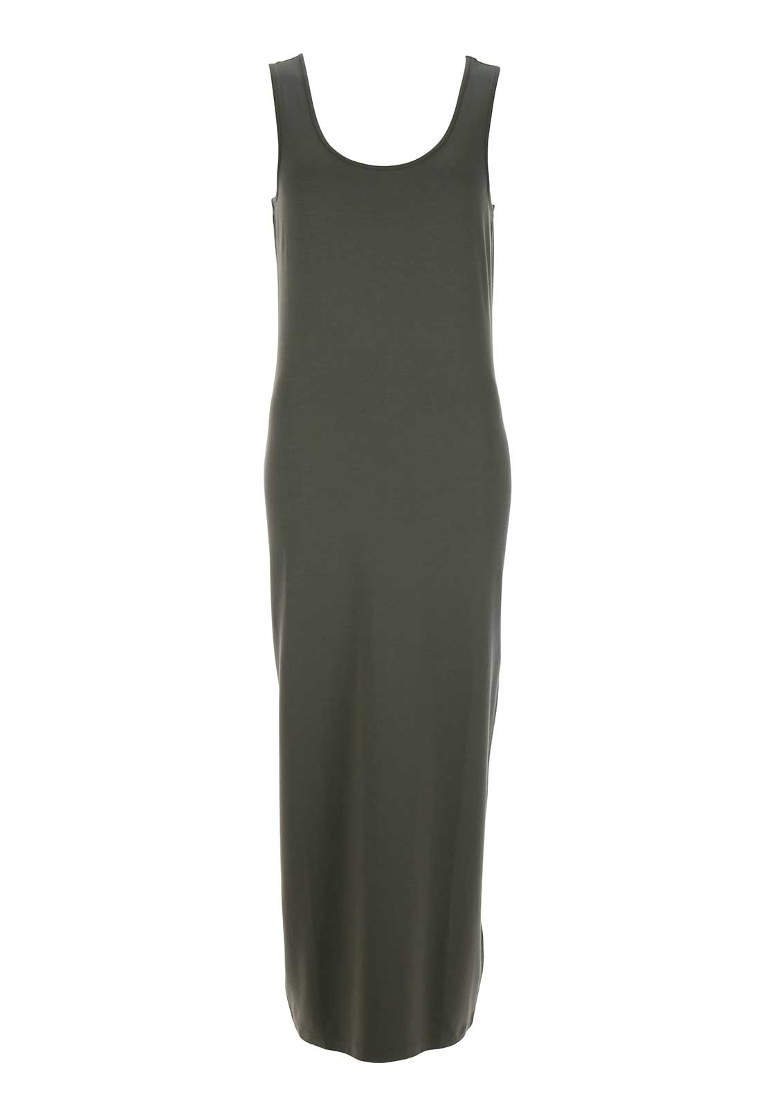 Naya Sleeveless Jersey Maxi Dress, Khaki Green