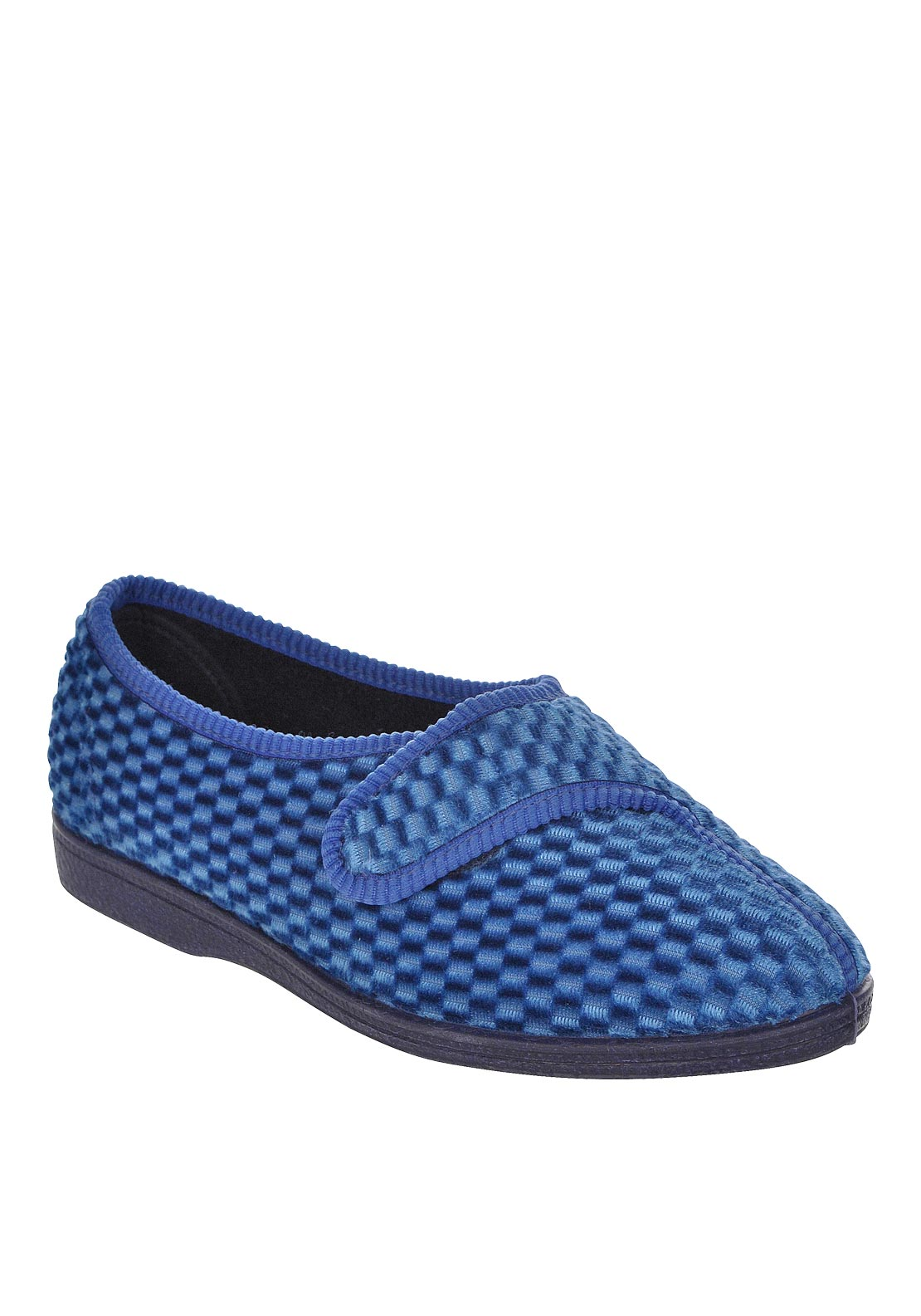 Lotus Womens Nestas Quilted Velcro Slippers, Blue