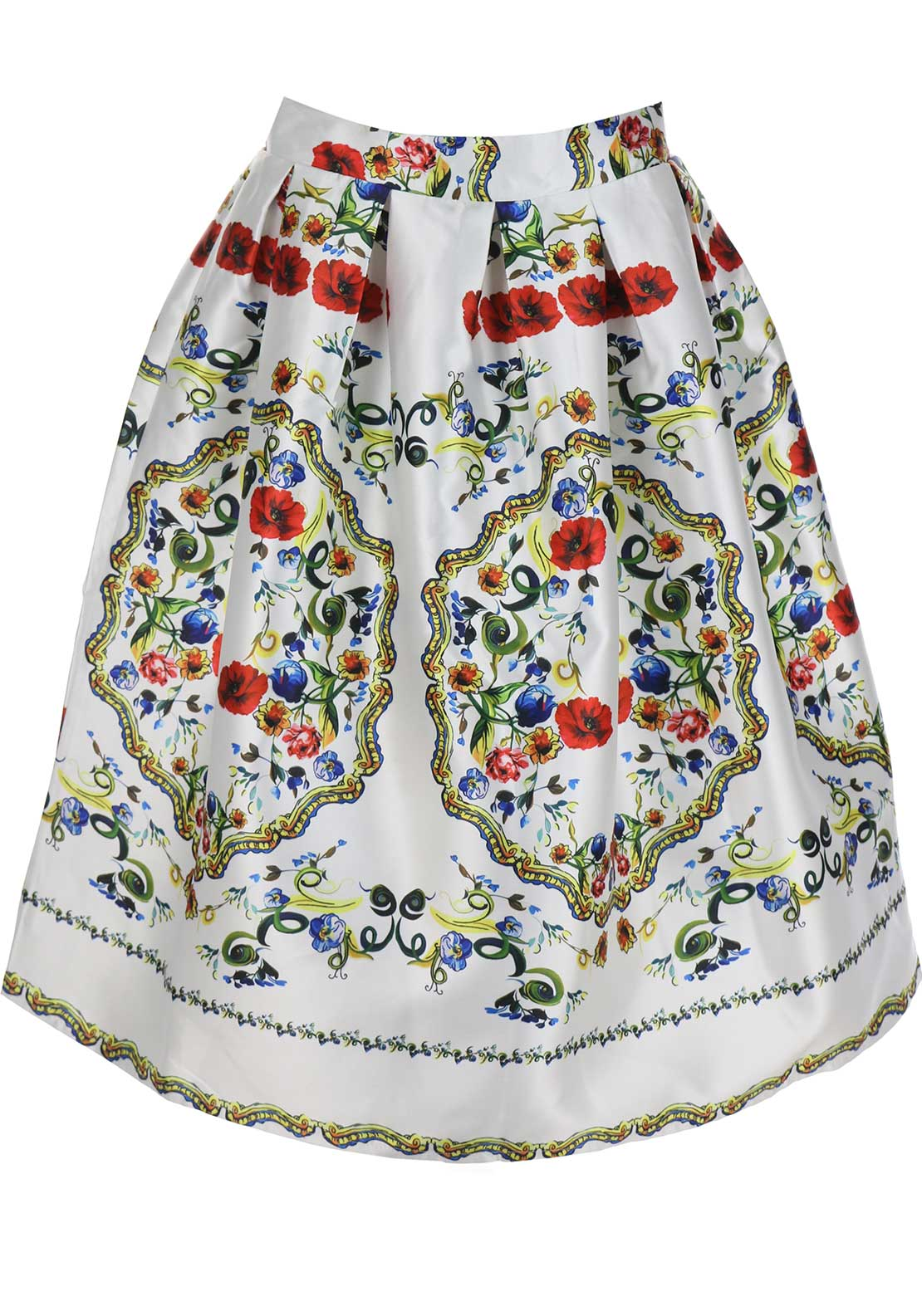 Boutique Baroque Print Midi Skater Skirt, White