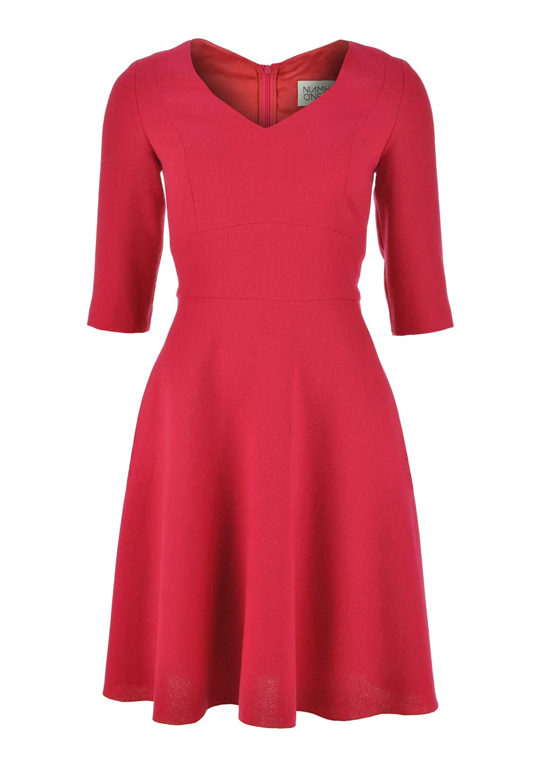 Niamh O'Neill Milly Cropped Sleeve A-Line Wool Dress, Raspberry
