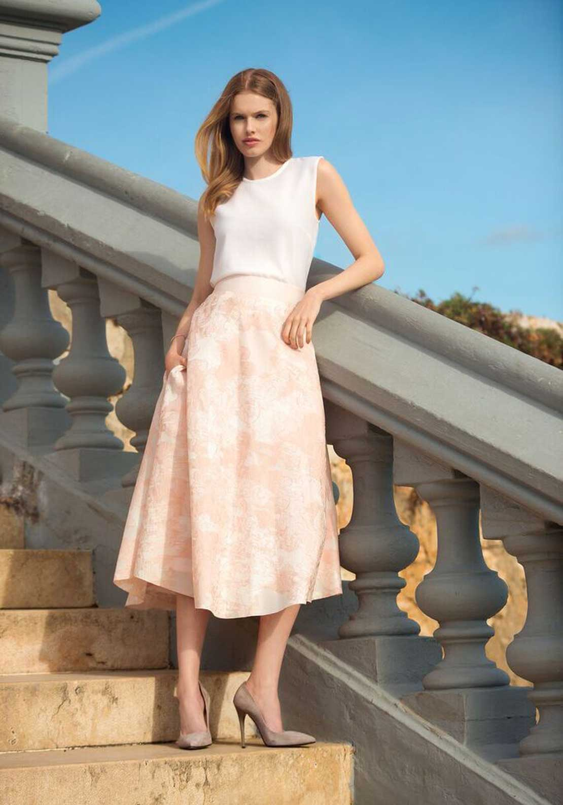 Niamh O'Neill Sienna Silk Fit and Flared Skirt, Pink
