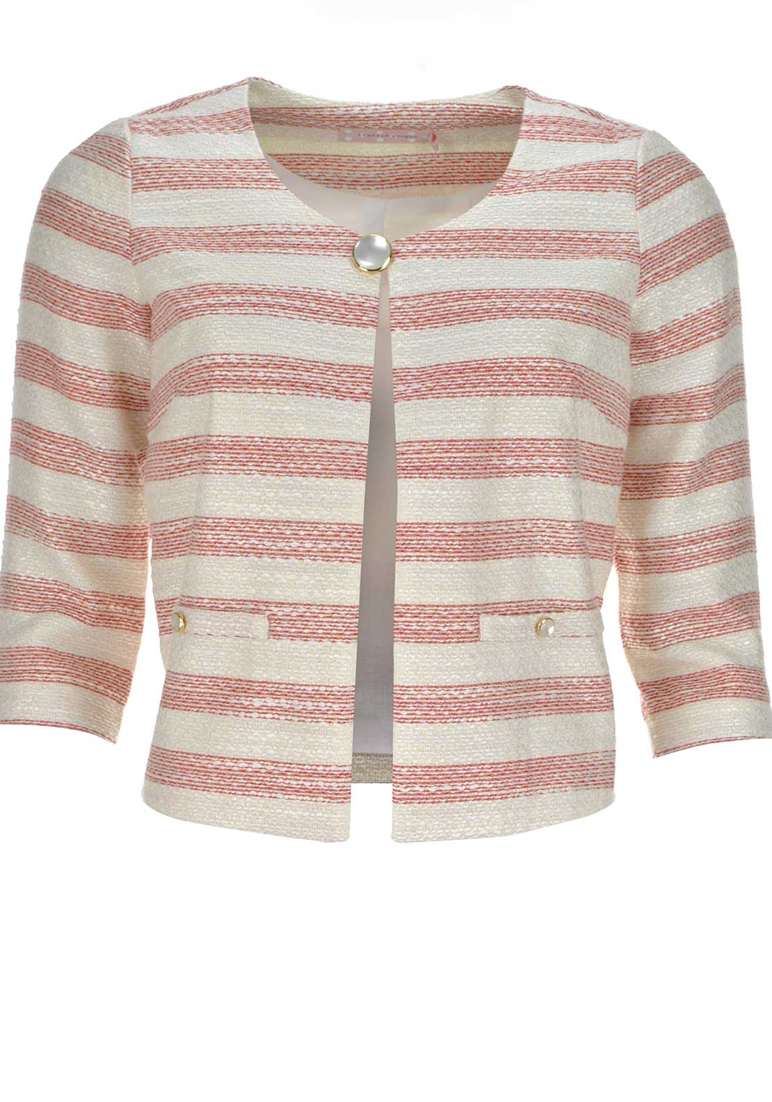 Traffic People Woven Striped Short Jacket, Cream and Red