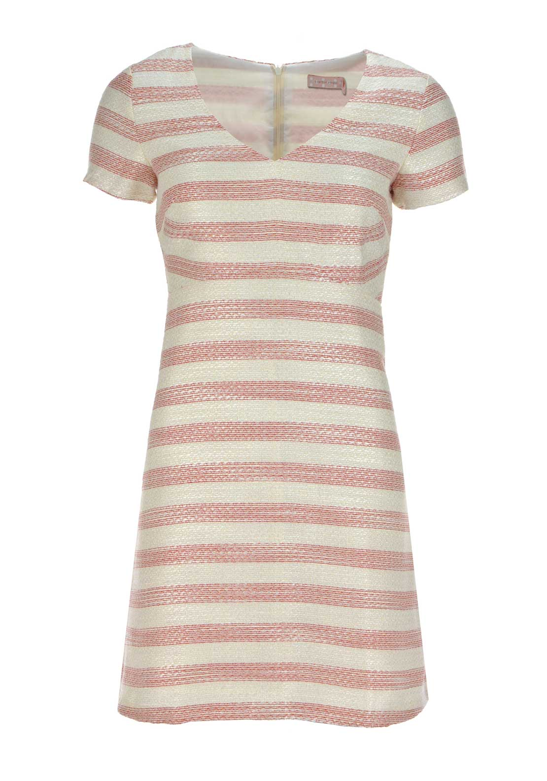 Traffic People Woven Striped A-Line Dress, Cream and Red