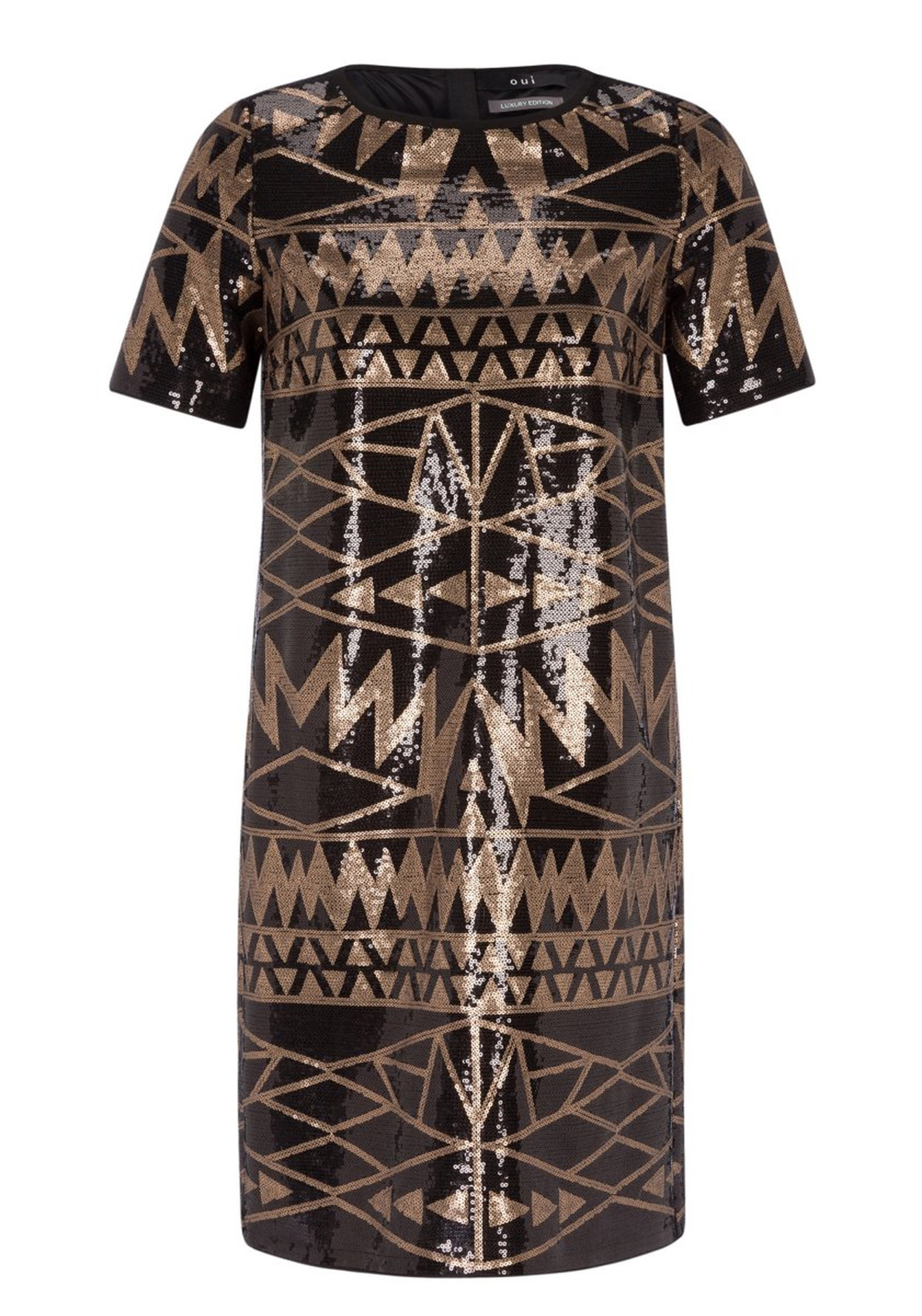 Oui Sequin Embellished Geometric Print Tunic Dress, Black and Bronze