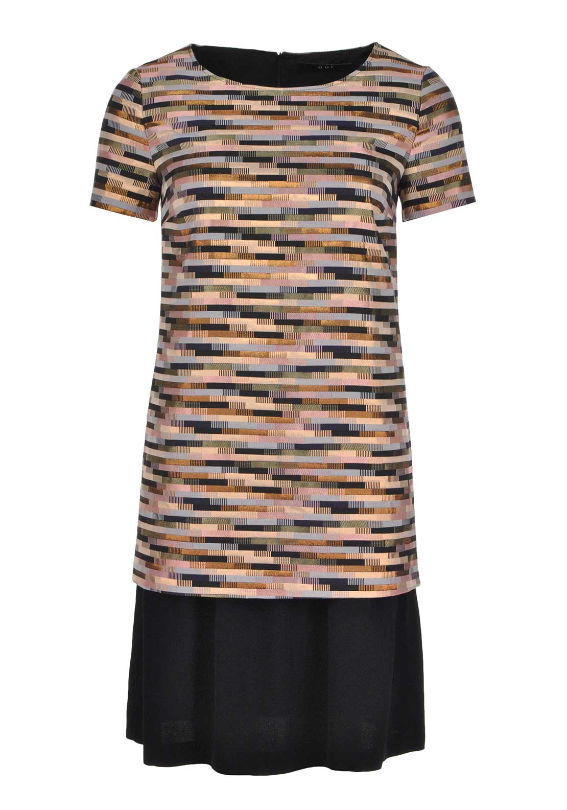 Oui Metallic Sheen Geometric Print Double Layer Tunic Dress, Multi-Coloured
