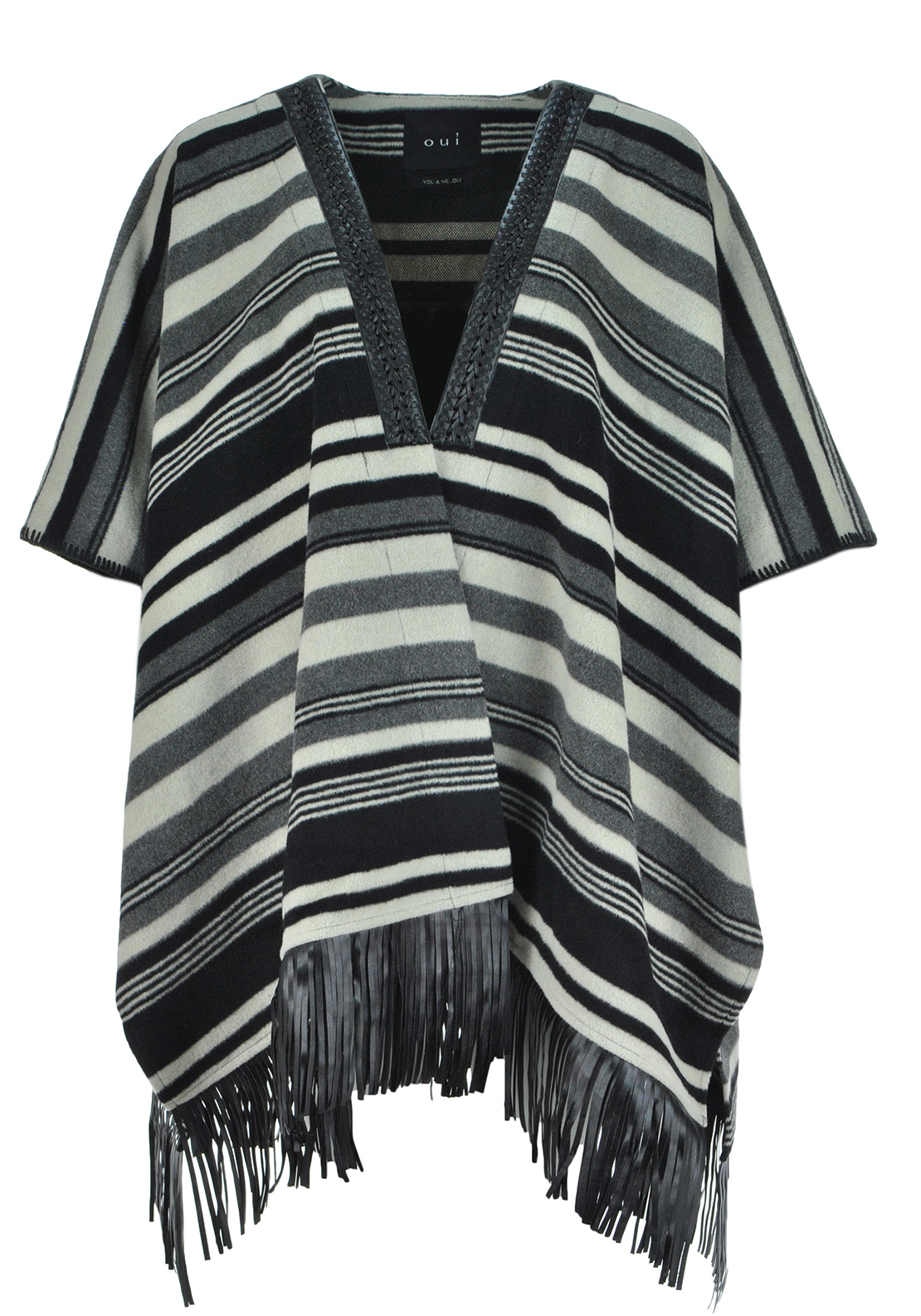 Oui Stripe & Fringed Cape, Multi-Coloured