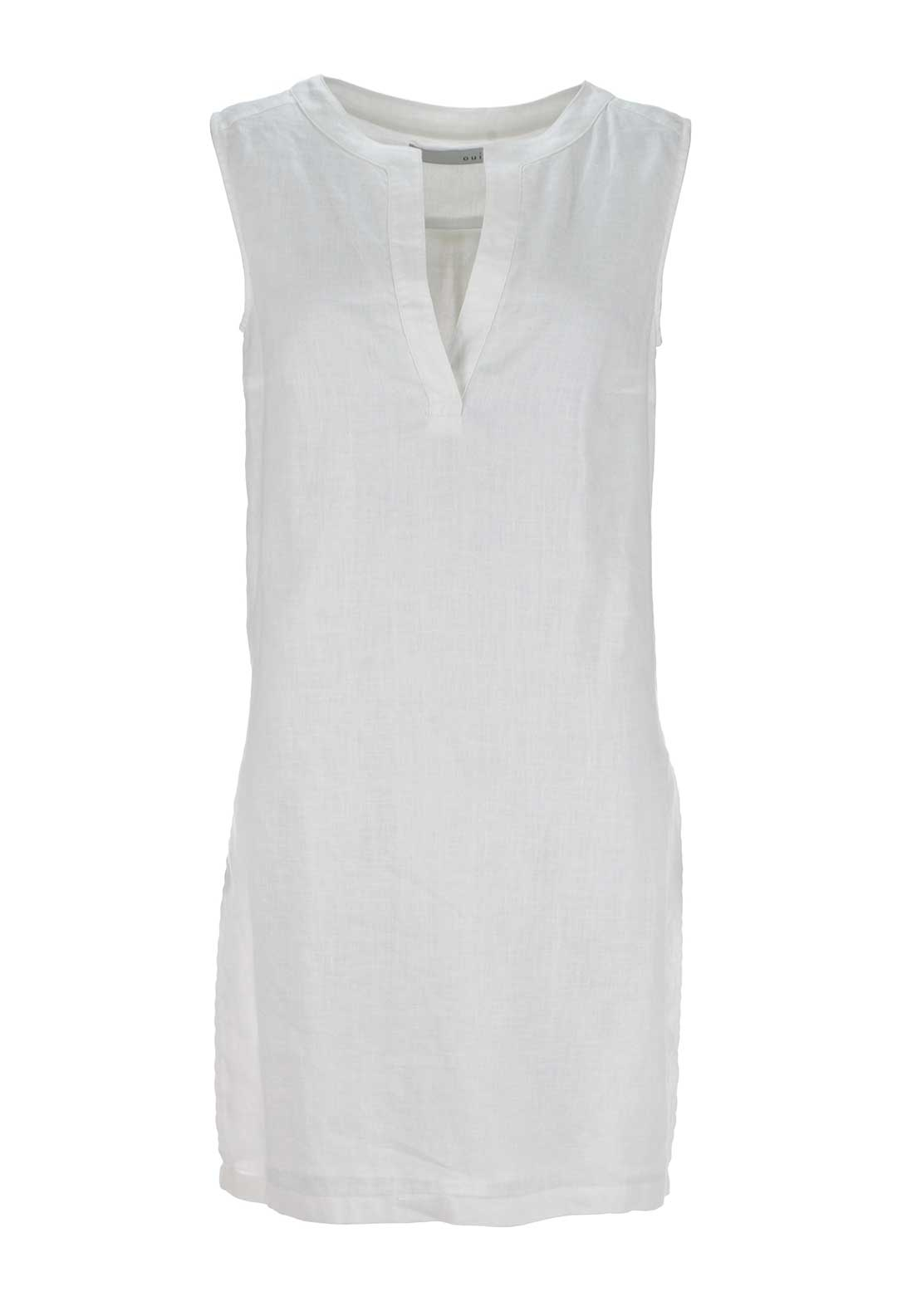 Oui Sleeveless Linen Tunic Top, White
