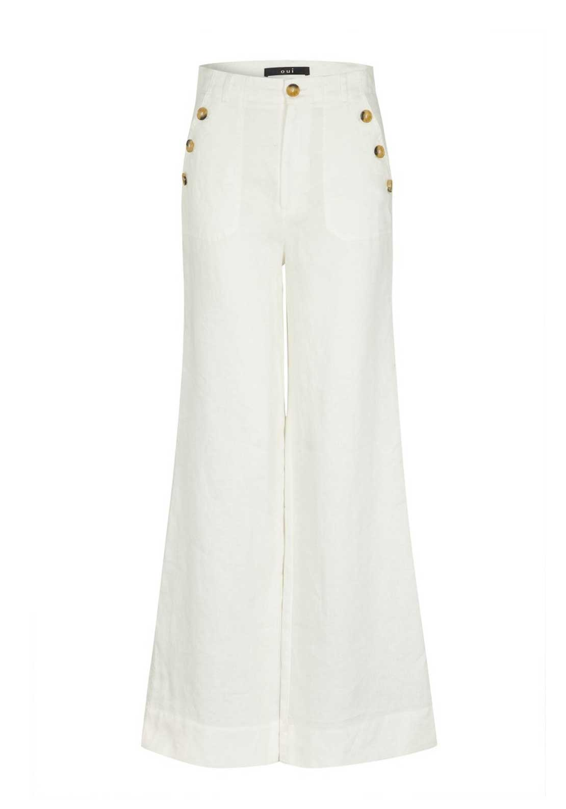 Oui Wide Leg High Rise Linen Trousers, White