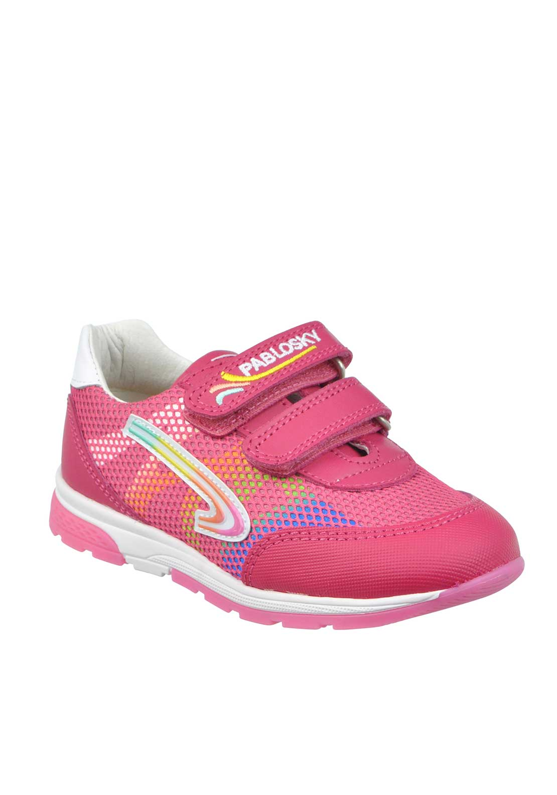 Pablosky Girls Leather Mix Leather Strap Trainers, Pink
