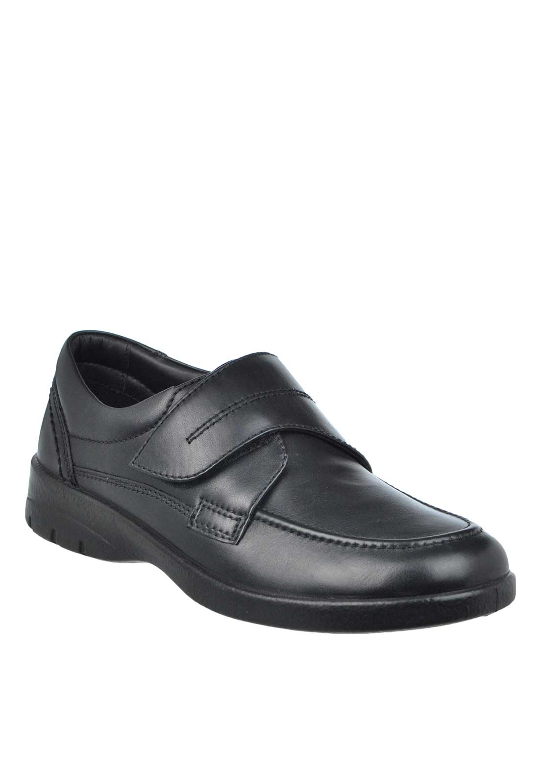 Padders Solar Velcro Strap Leather Shoe, Black