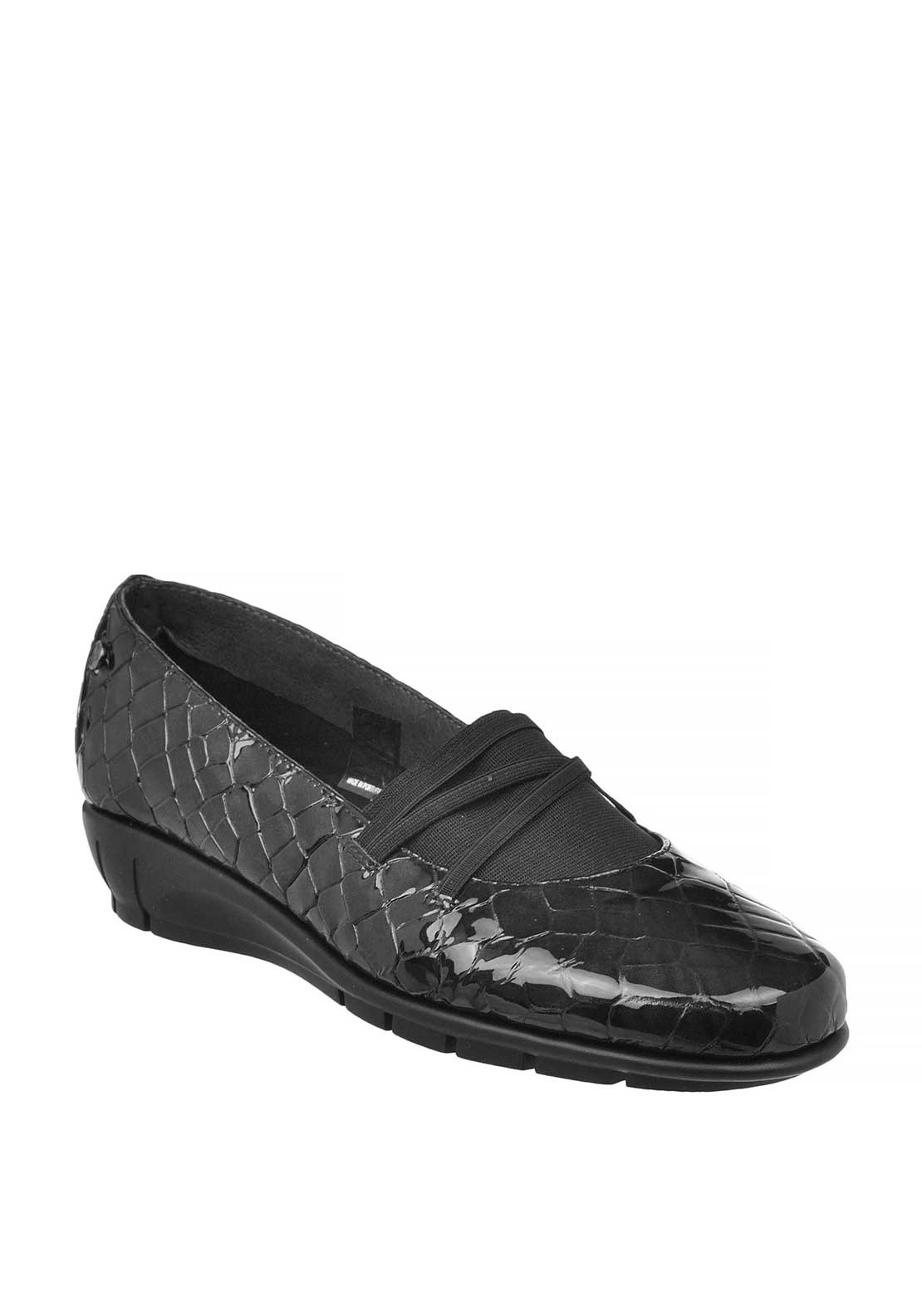 Flex & Go Paris Patent Leather Reptile Print Slip on Shoes, Black