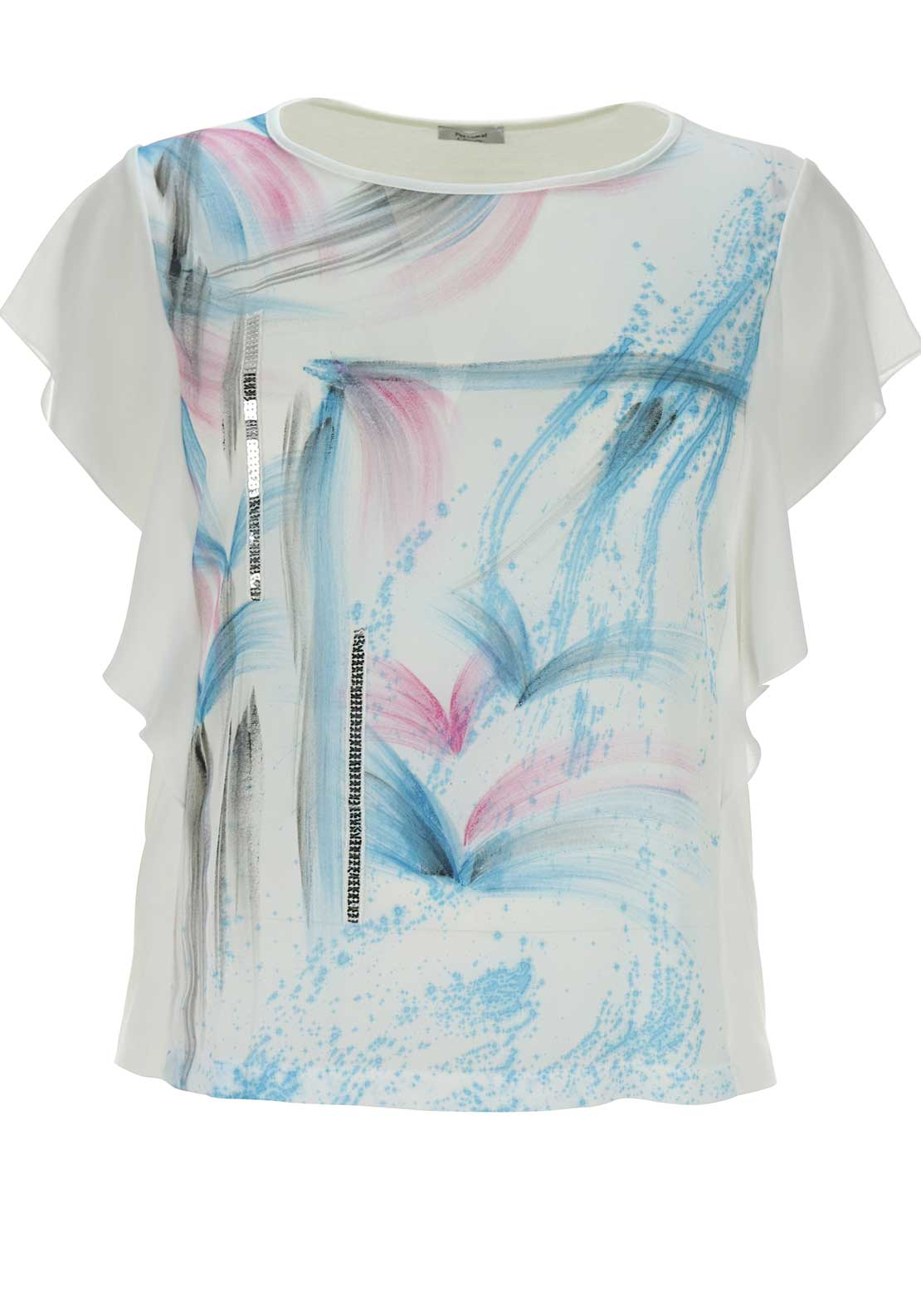 Personal Choice Brushstroke Print Short Sleeve Top, White Multi