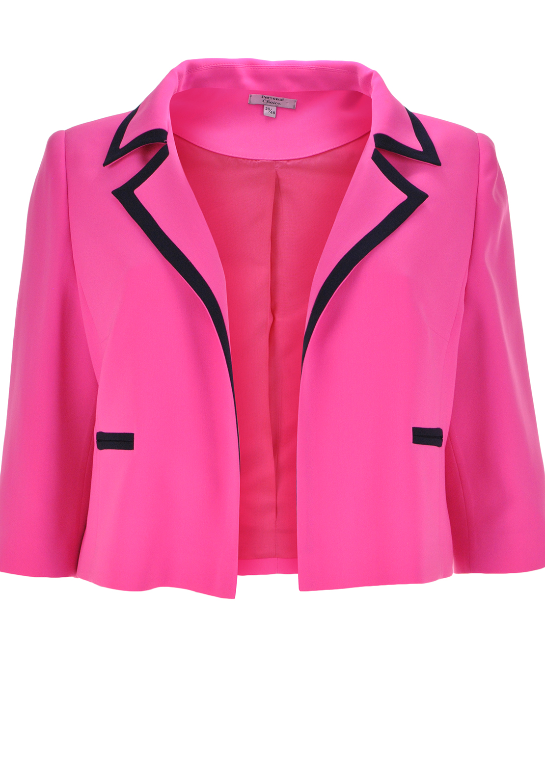 Personal Choice Contrast Trim Jacket, Hot Pink