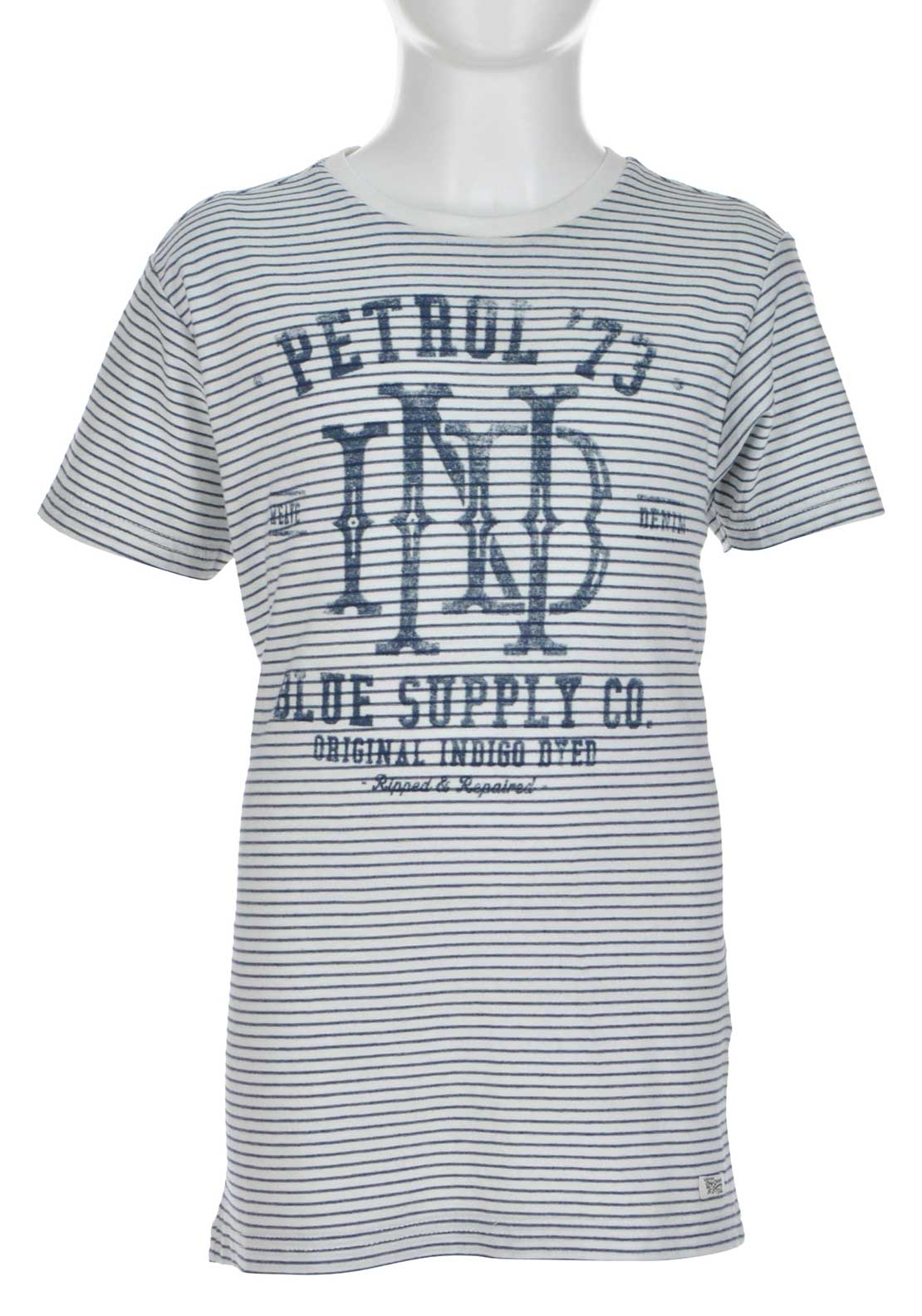 Petrol Industries Striped Printed T-Shirt, White