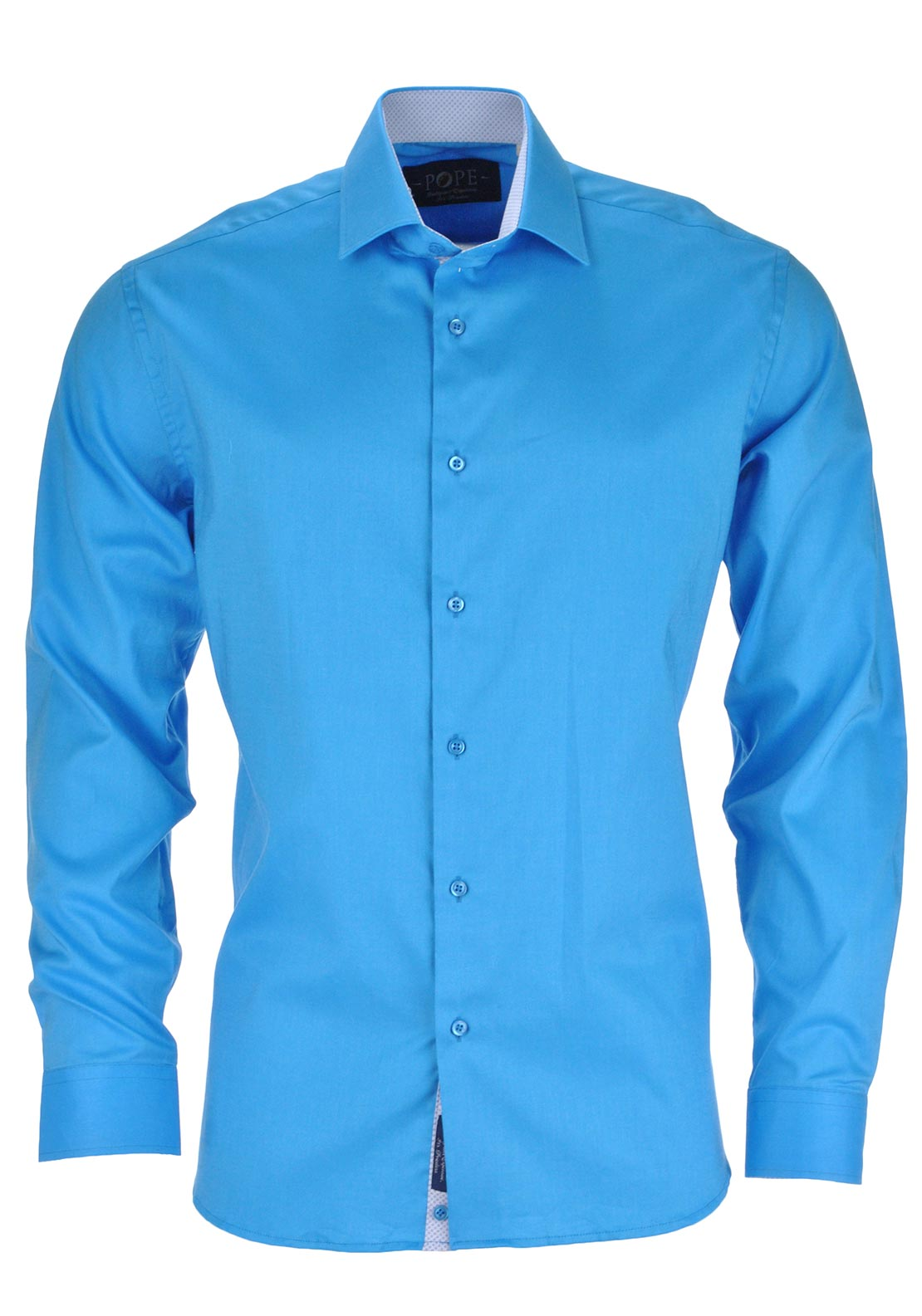 POPE Mens Vienna Long Sleeved Plain Shirt, Turquoise