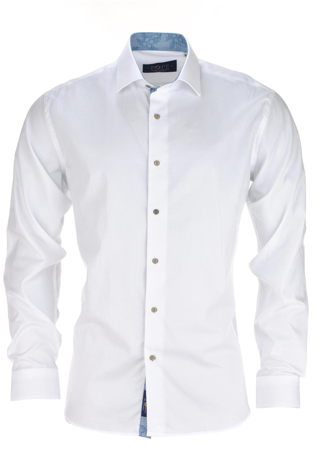 POPE Mens Royalty Long Sleeved Plain Shirt, White