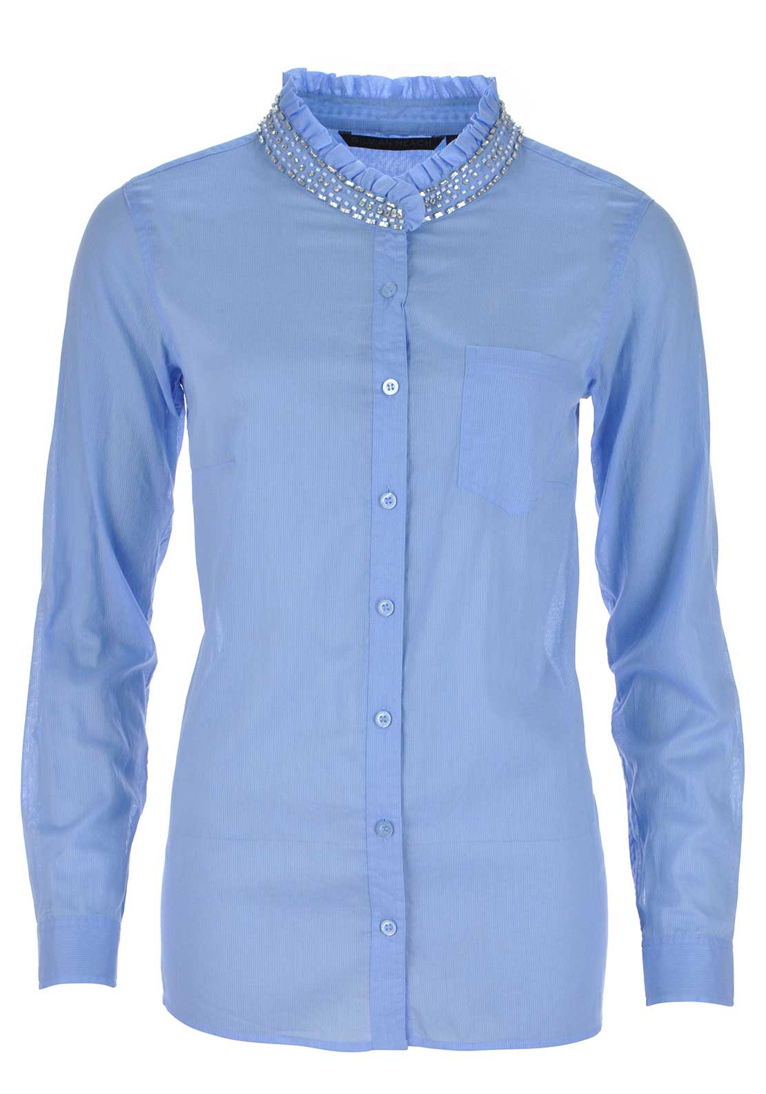 Silvian Heach Semi Sheer Diamante Embellished Shirt, Blue