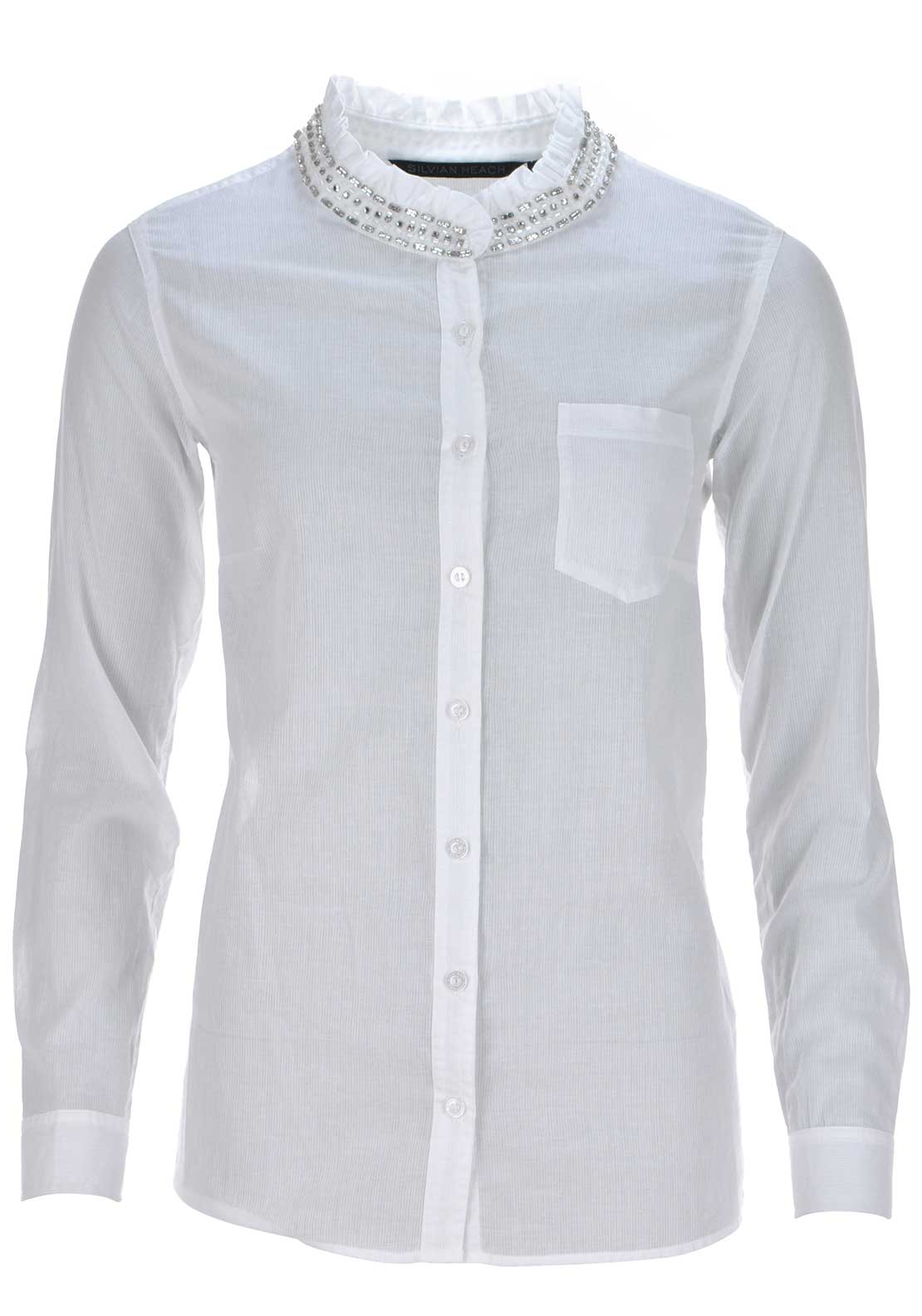 Silvian Heach Semi Sheer Diamante Embellished Shirt, White