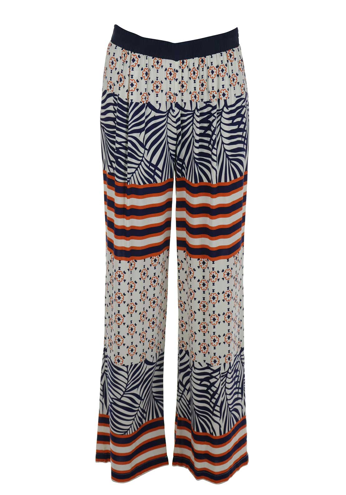 Silvian Heach Block Print Flared Trousers, Multi-Coloured