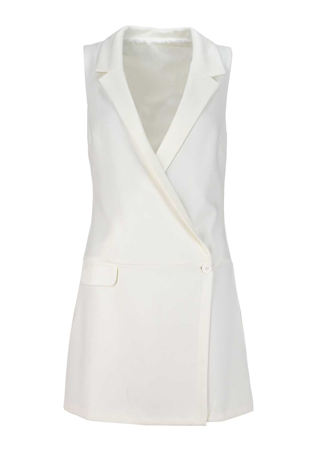 Boutique Sleeveless Blazer Jacket, Cream