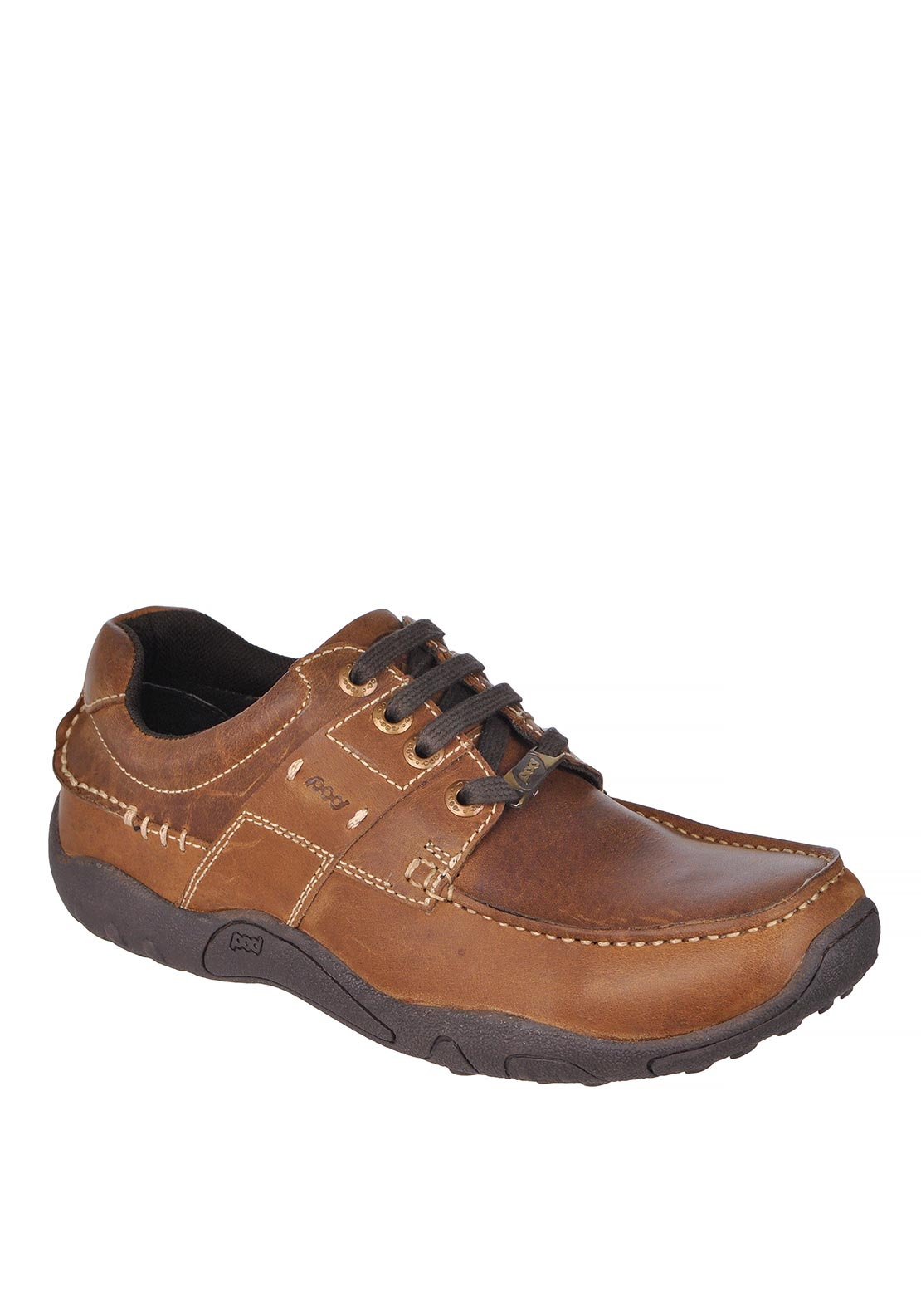 Pod Mens Leather Lace Up Shoes, Brown