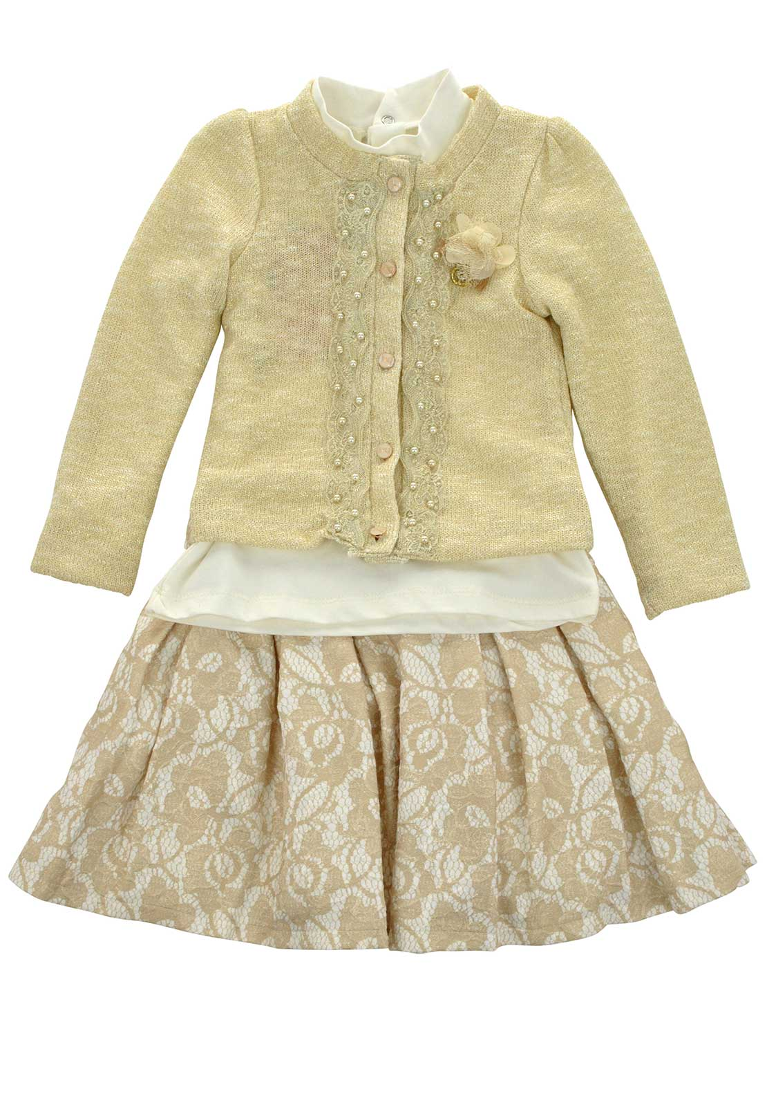 Couche Tot Girls Top, Knitted Cardigan and Skirt, Gold