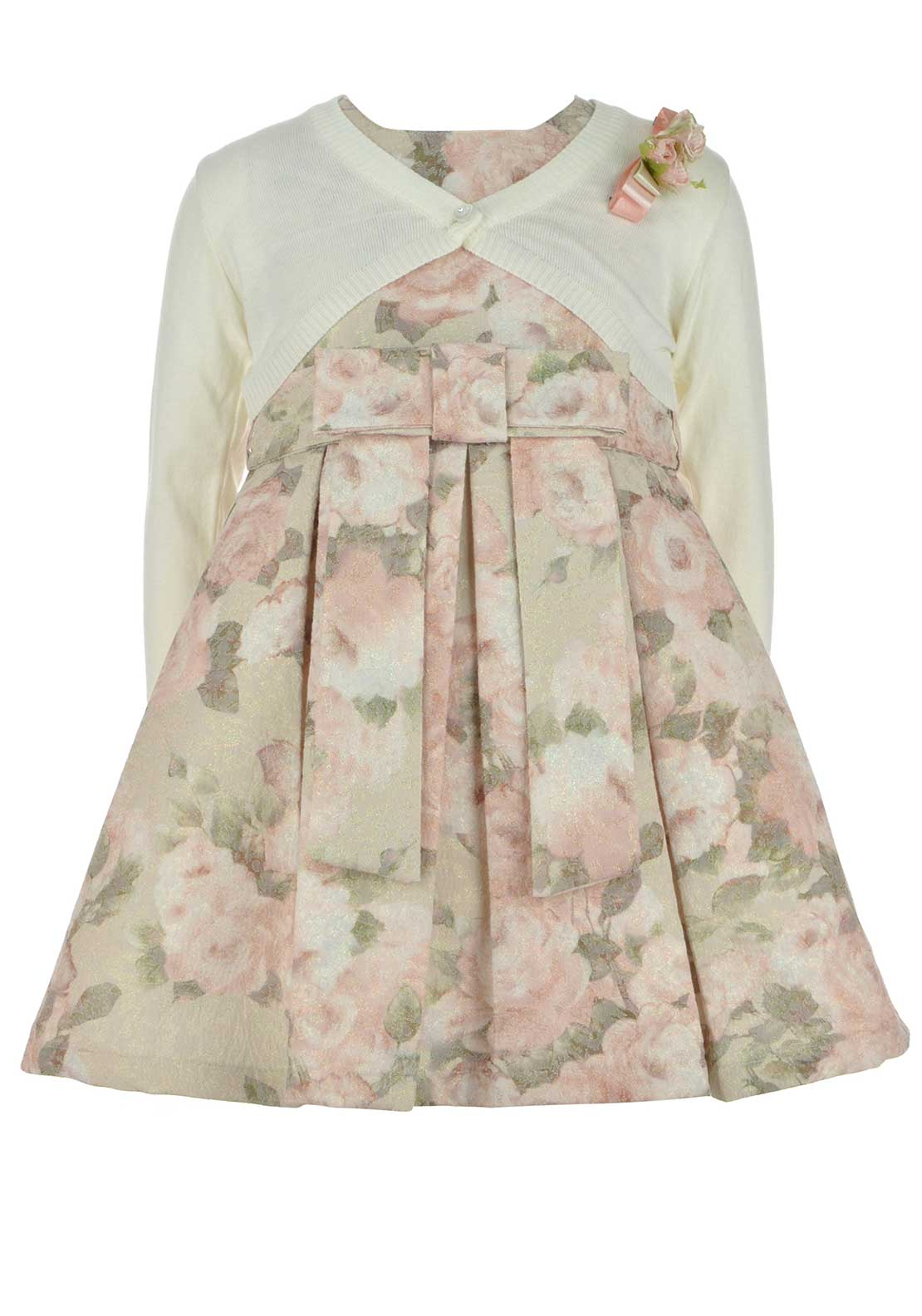 Couche Tot Girls Glitter Rose Print Dress and Bolero Set, Beige and Pink