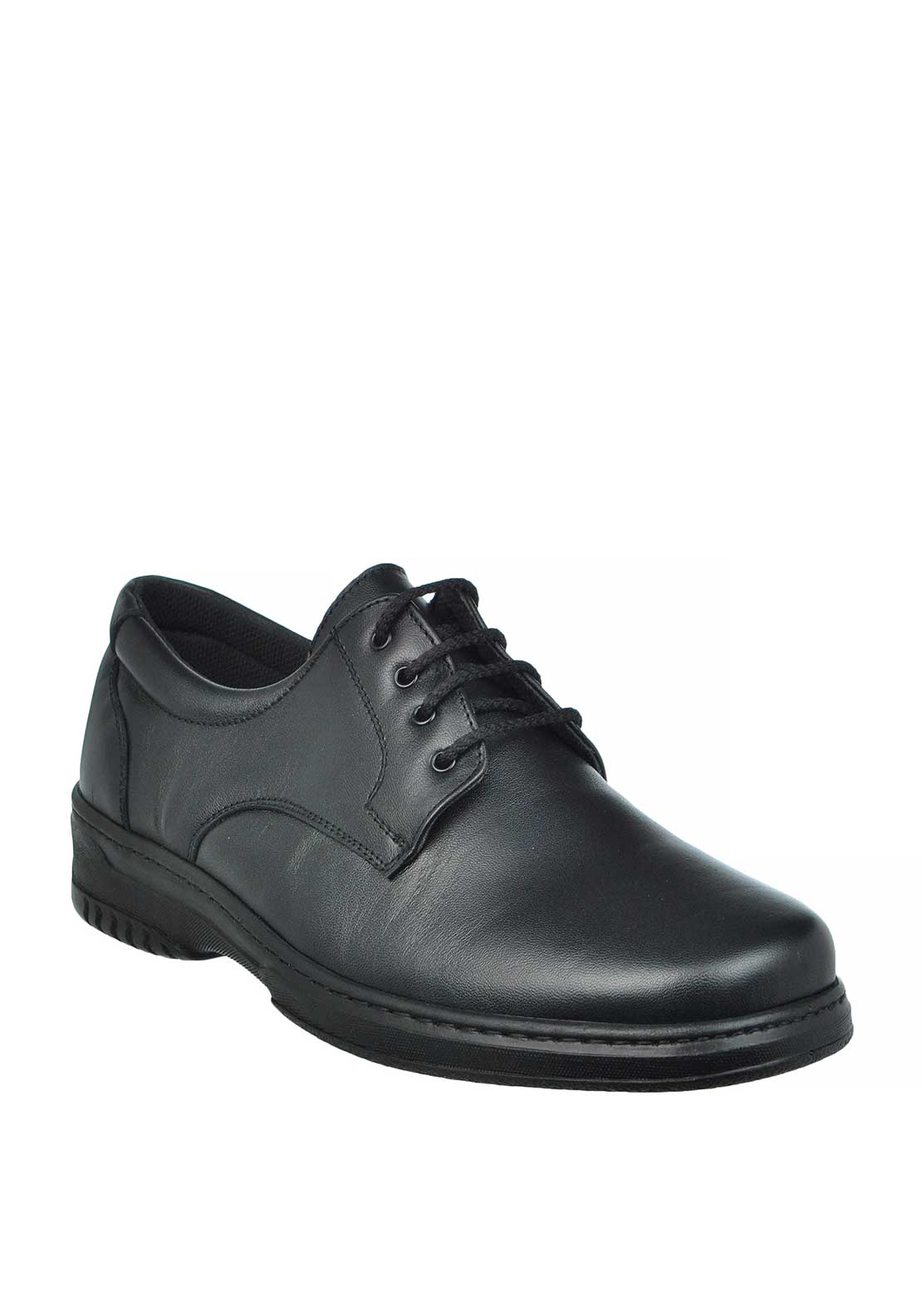 Pinoso Mens Leather Diabetic Laced Shoes, Black