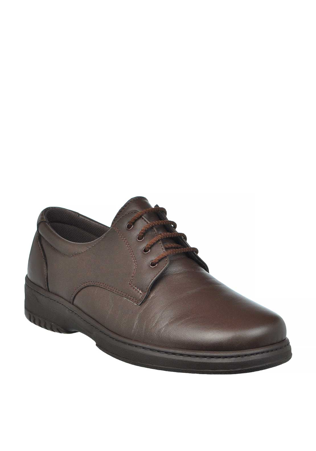 Pinoso Mens Leather Diabetic Laced Shoes, Brown