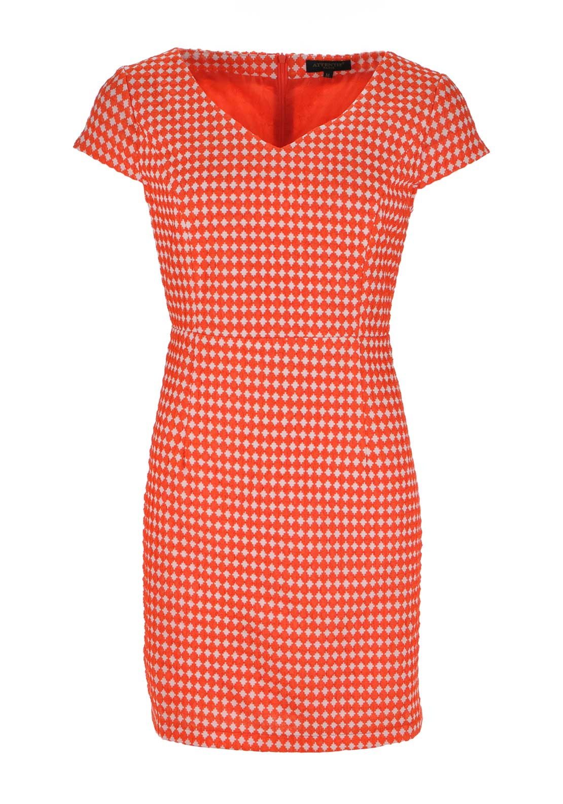 Boutique Graphic Print V Neck Shift Dress, Coral and White