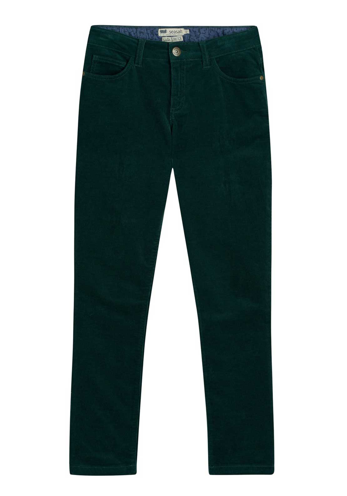 Seasalt Lamledra Slim Fit Cord Jeans, Thicket Green