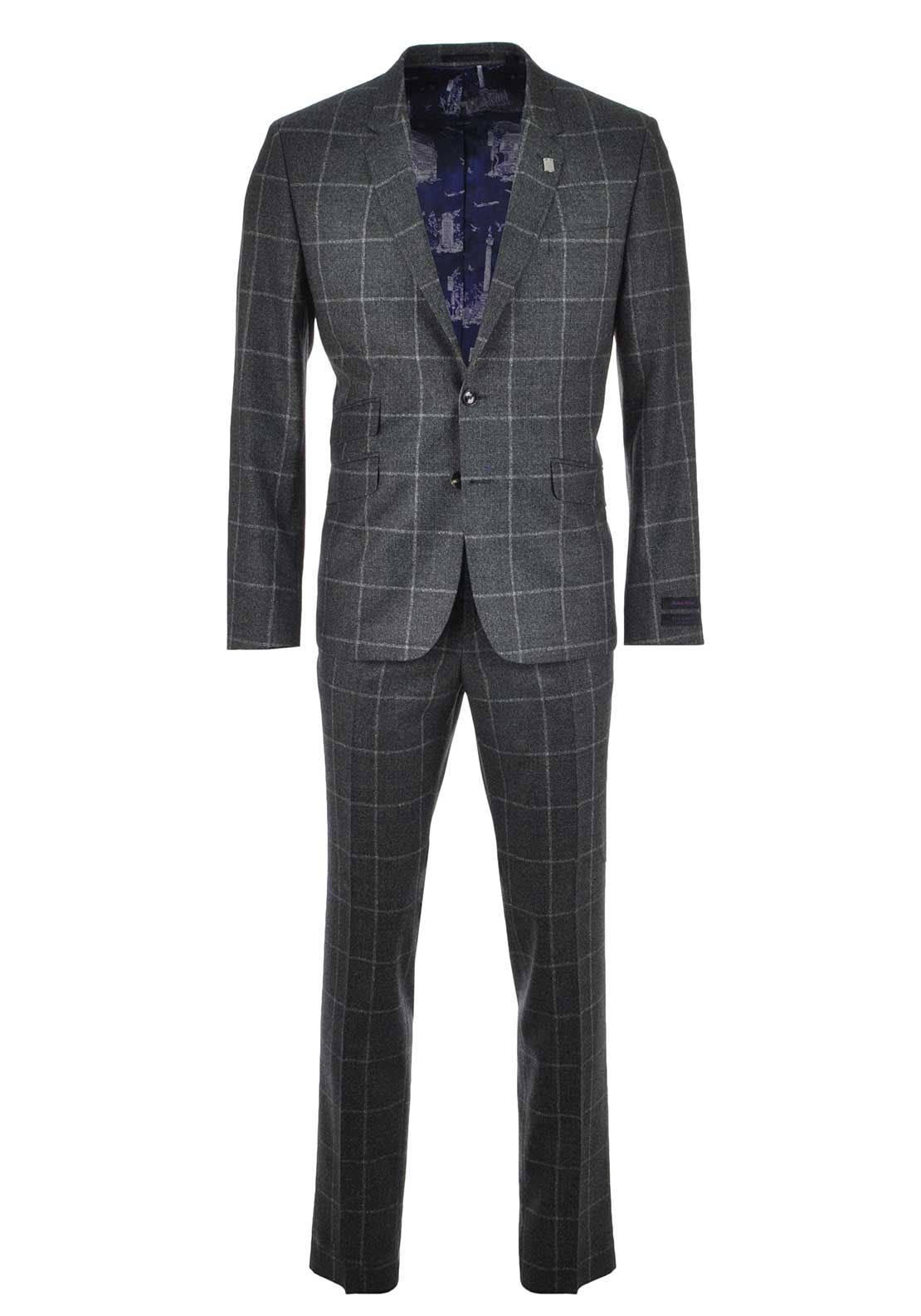 Ted Baker Mens Beaglez Modern Sterling Check Suit, Charcoal